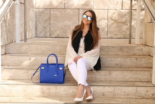 missyonmadison, melissa tierney, getty museum, la blogger, los angeles blogger, los angeles museum, fashion blogger, white pumps, white skinny jeans, black faux fur, white cold shoulder top, le specs, le specs noir sunglasses, mirrored sunglasses, white pointed toe pumps, spring style, cobalt blue satchel, blue satchel,