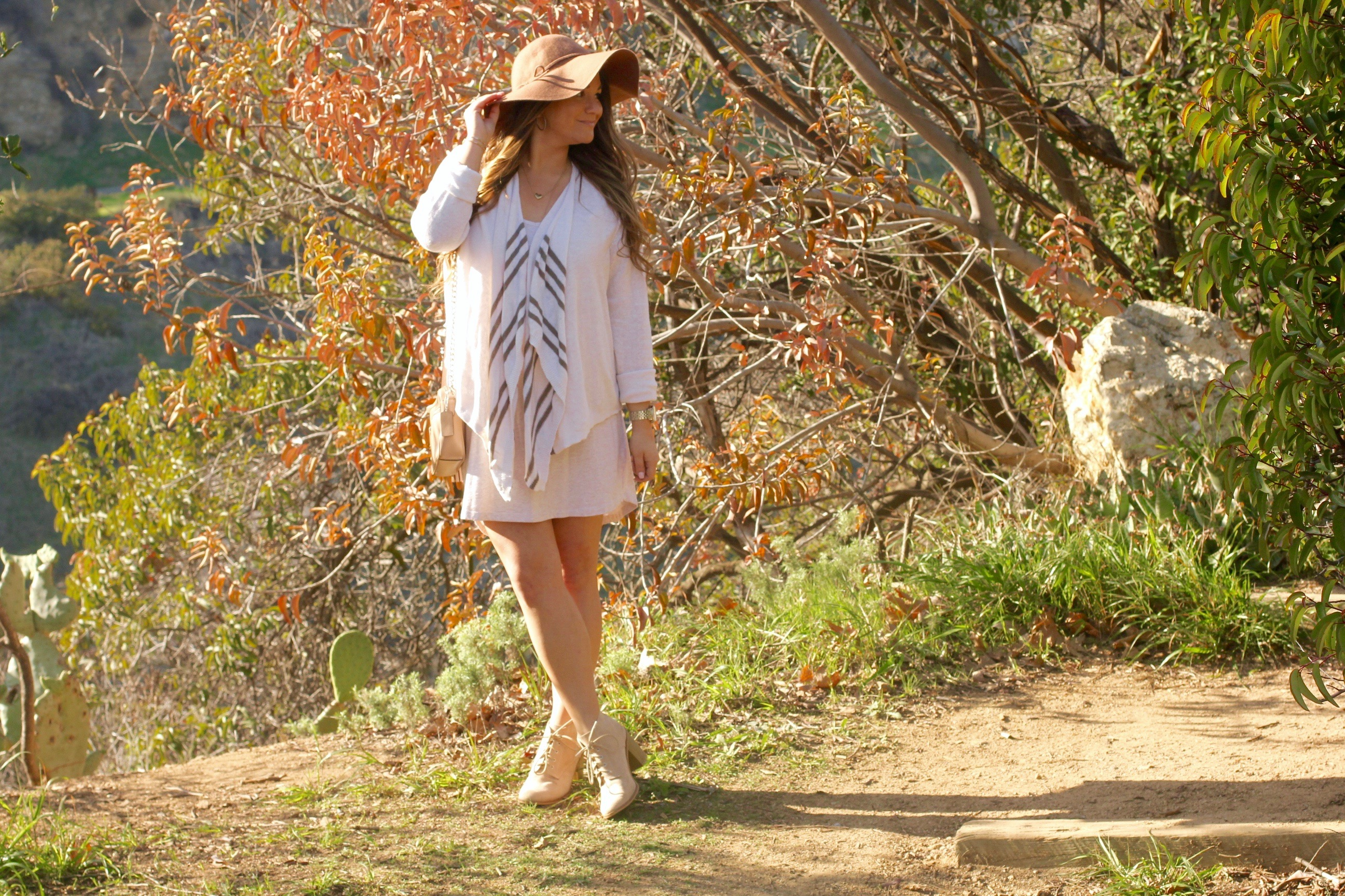 missyonmadison, melissa tierney, spring style, spring fashion, spring trends, fashion blogger, la blogger, hollywood hills, tan floppy hat, target style, target floppy hat, old navy cardigan, beige open front cardigan, beige suede lace up ankle boots, beige suede booties, beige leather crossbody bag, coach crossbody bag, beige chain crossbody bag, threads for thought dress, threads for thought penny dress, beige cardigan,