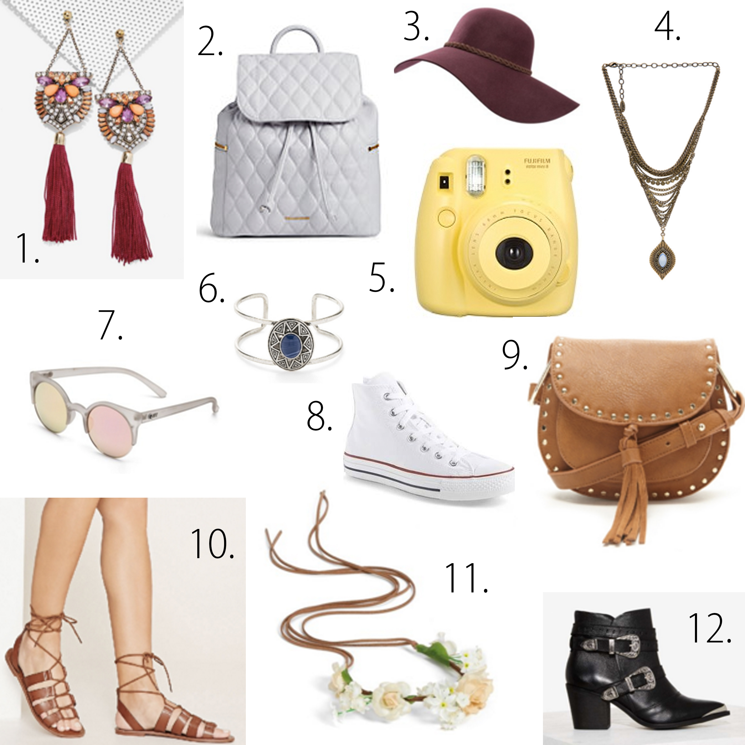 missyonmadison, coachella style, coachella picks, coachella style tips, coachella style roundup, festival style, festival picks, accessories for coachella, boho chic looks, boho chic outfit inspo, revolve clothing, floppy hat, fuji film, converse, vera bradley backpack, boho jewelry, lace up sandals, forever 21, fringe vest, cold shoulder dress, romper, quay australia sunglasses, what to pack for coachella, coachella packing guide, what to wear in palm springs, palm desert, coachella vibes, booties, flower crown, flower headband,