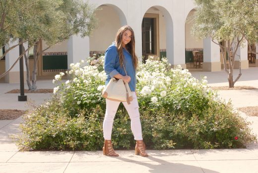 missyonmadison, melissa tierney, fashion blog, fashion blogger, chambray shirt, womens chambray button down shirt, white skinny jeans, old navy, old navy rockstar jeans, white distressed skinny jeans, white old navy rockstar skinny jeans, gucci, white gucci soho tote, gucci soho tote, gucci bag, mari a sandals, nordstrom rack, brown fringe heeled sandals, fringed sandals, brown gladiator fringed sandals, an old soul jewelry, david yurman bracelet, amethyst ring, m initial diamond necklace, m initial necklace,