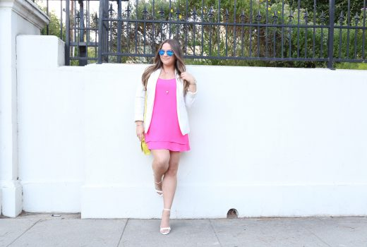missyonmadsison, ulta, ulta beauty, hairstyle, hair trends, summer hair style, summer hair trends, summer style, neon pink dress, white ankle strap heels, white ankle strap sandals, white boyfriend blazer, gigi ny crossbody, gigi ny bag, neon yellow bag, ray bans, mirrored avaitors, highlights, brunette hair, hair styles, ulta gorgeous hair event,