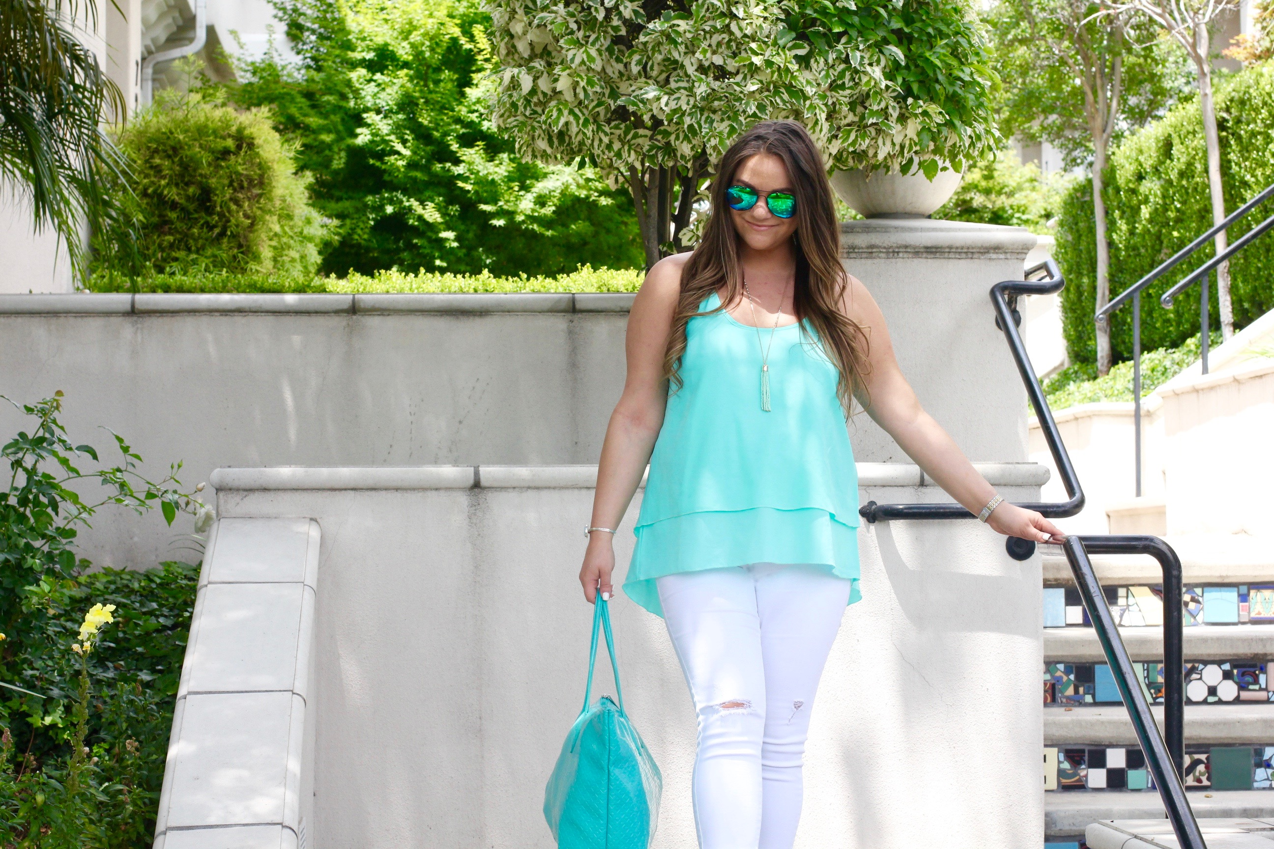missyonmadison, fashion blogger, fashion blog, style blogger, style blog, turquoise camisole, all for color, turq cami, old navy, white skinny jeans, old navy white rockstar jeans, vince camuto, vince camuto gladiator heeled sandals, heeled sandals, nectar sunglasses, nectar aviators, green aviators, hair style, summer trends, summer hair styles, summer style, turq cami,