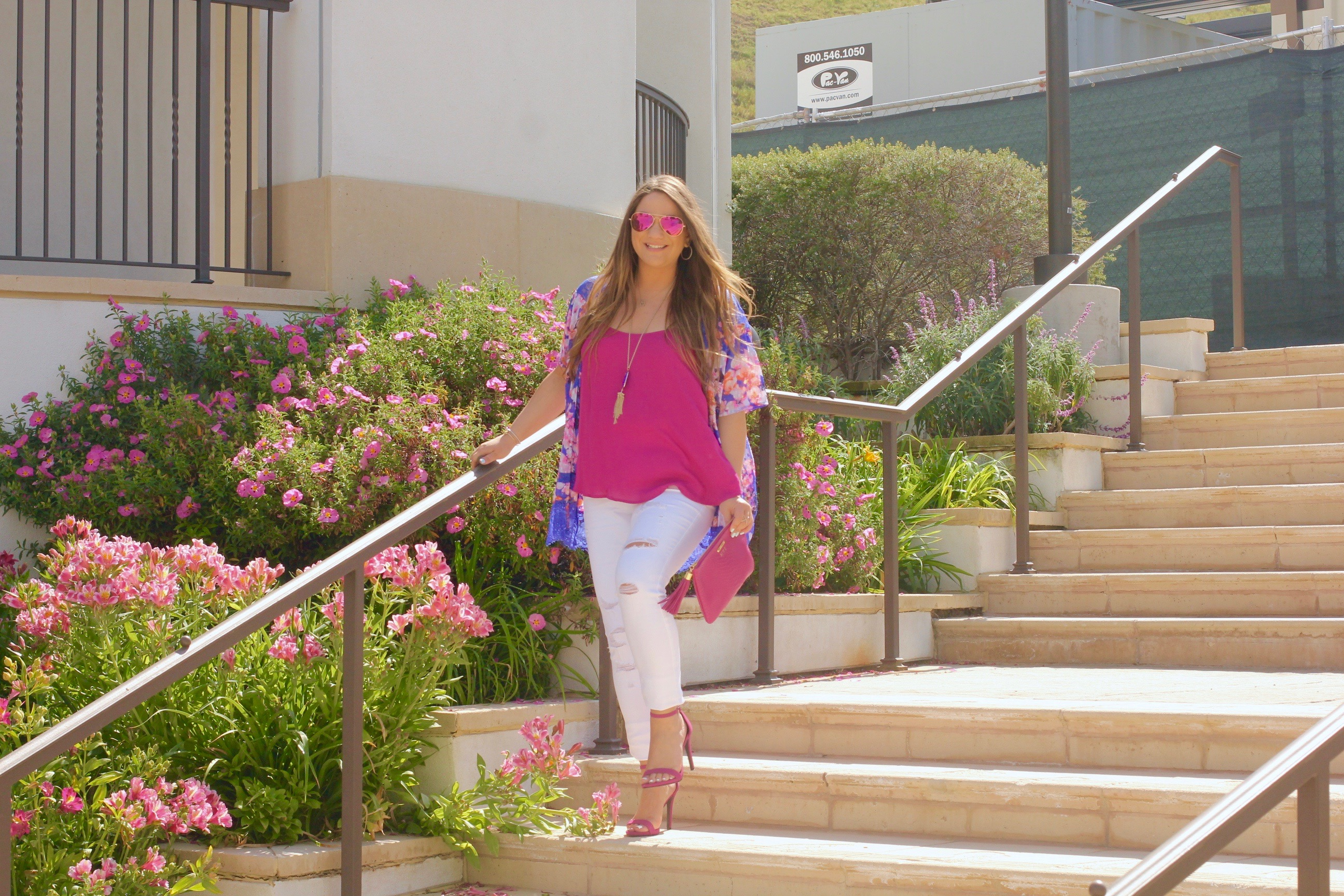 missyonmadison, melissa tierney, floral kimono, fuschia ankle strap heels, fuschia ankle strap sandals, fuschia heels, old navy, white skinny jeans, old navy white rockstar jeans, gigi ny clutch, gigi ny, gigi ny magenta clutch, kendra scott, kendra scott rayne necklace, mirrored aviators, pink mirrored aviators, pink chiffon camisole, apt 9 camisole, fashion blogger, style blogger, spring style,