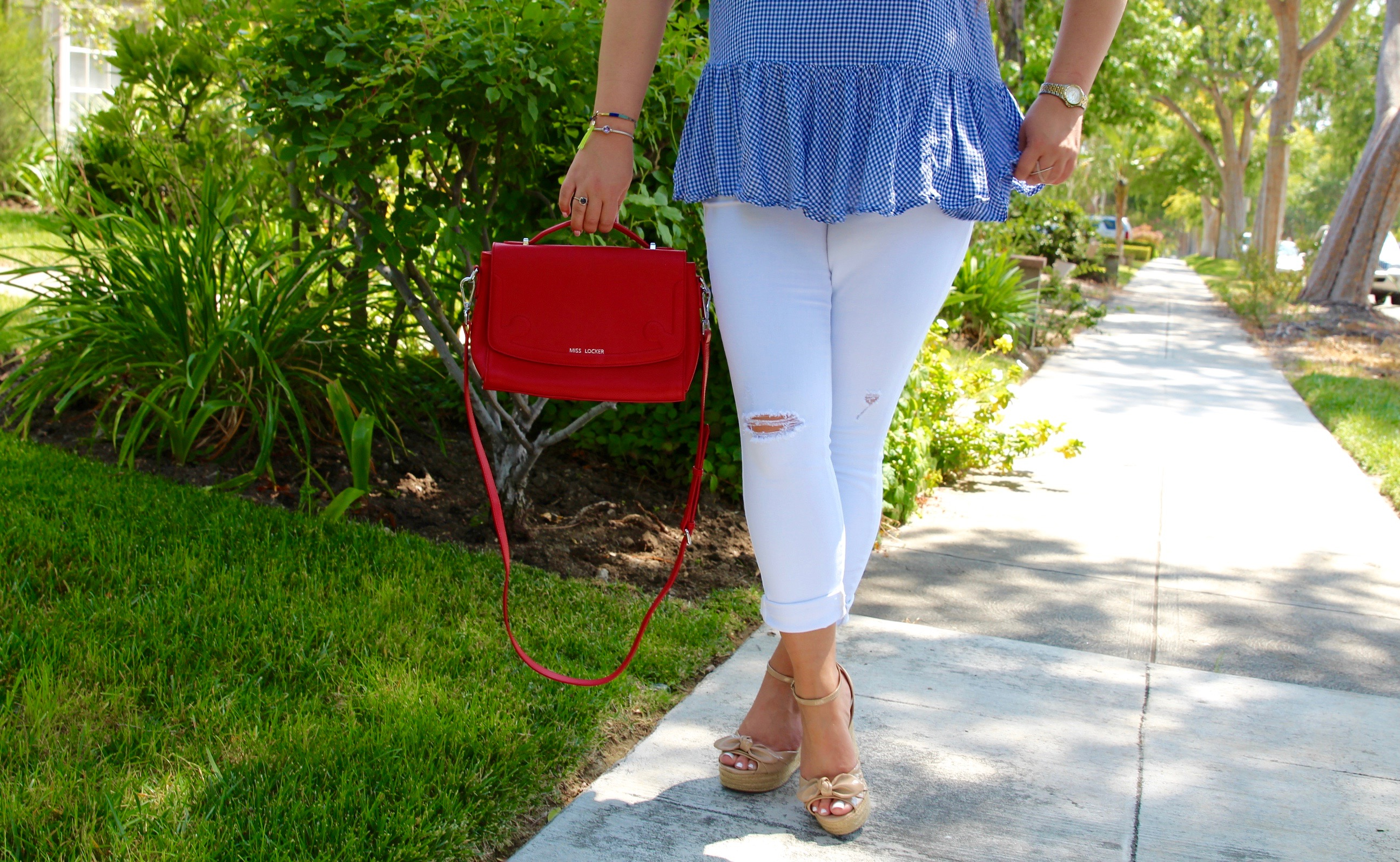missyonmadison, melissa tierney, gingham print, white skinny jeans, old navy, old navy white rockstar jeans, red miss locker bags, red satchel, red handbag, wayfarer sunglasses, black sunglasses, red lipstick, elizabeth arden lipstick, red lips, la blogger, fashion blogger, summer style, summer trends, how to style white jeans, espadrille wedges, nude wedges, gingham print, how to style gingham print,