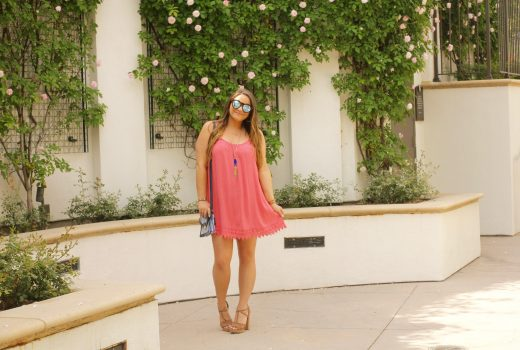 missyonmadison, melissa tierney, fashion blogger, fashion blog, summer style, summer trends, forever 21, nordstrom rack, cork heels, brown suede heels, kendra scott necklace, kendra scott rayne necklace, le specs sunglasses, coral dress, how to style coral,