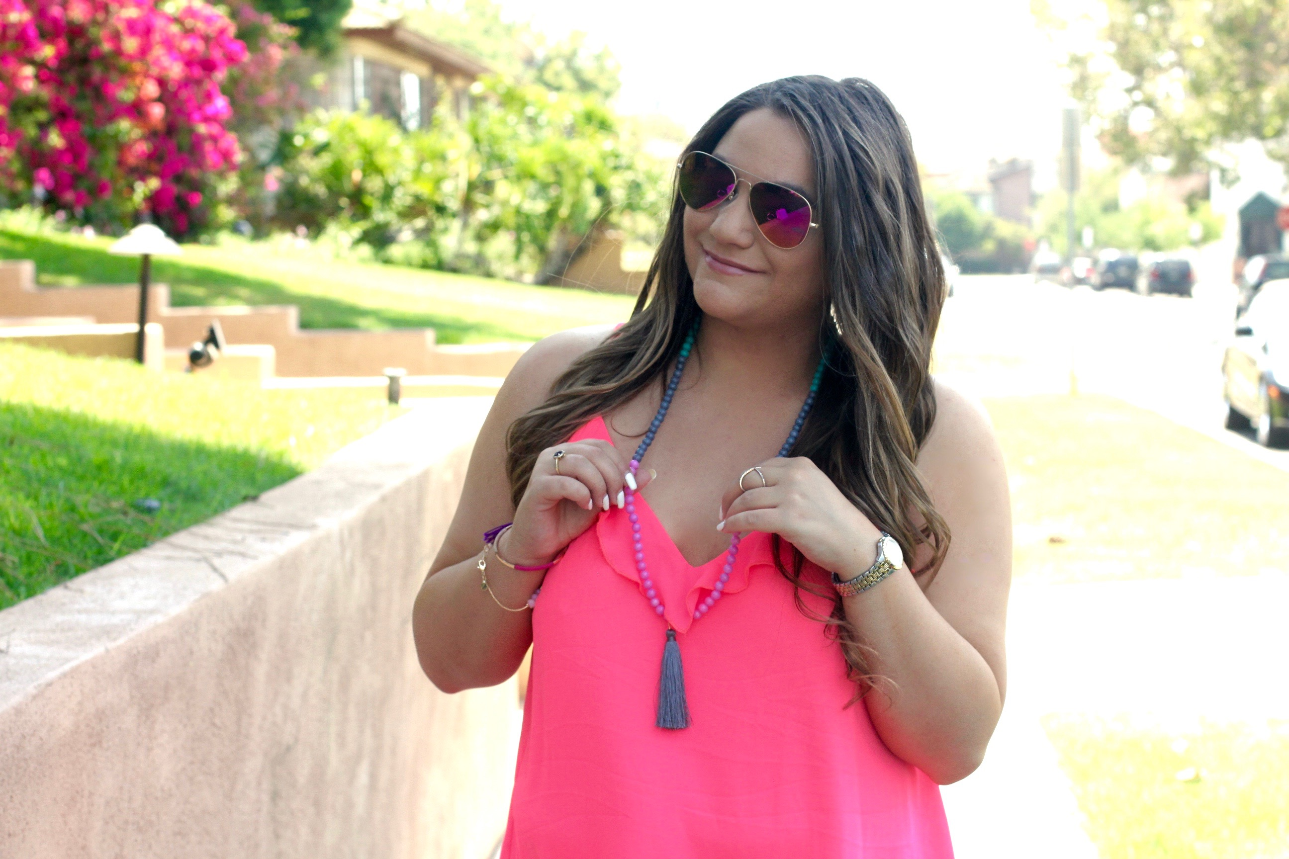 missyonmadison, melissa tierney, la blogger, la style, fashion blogger, style blogger, hot pink camisole, hot pink chiffon camisole, nordstrom rack, nordstrom rack hot pink camisole, old navy, old navy white rockstar jeans, white skinny jeans, how to style neon for summer, how to style white jeans for summer, beaded tassel necklace, shira melody jewelry, nicole lee, nicole lee satchel, white top handle satchel, gray suede pointed toe pumps, gray pumps, summer style, pink mirrored aviators, pink aviators, pink sunglasses,