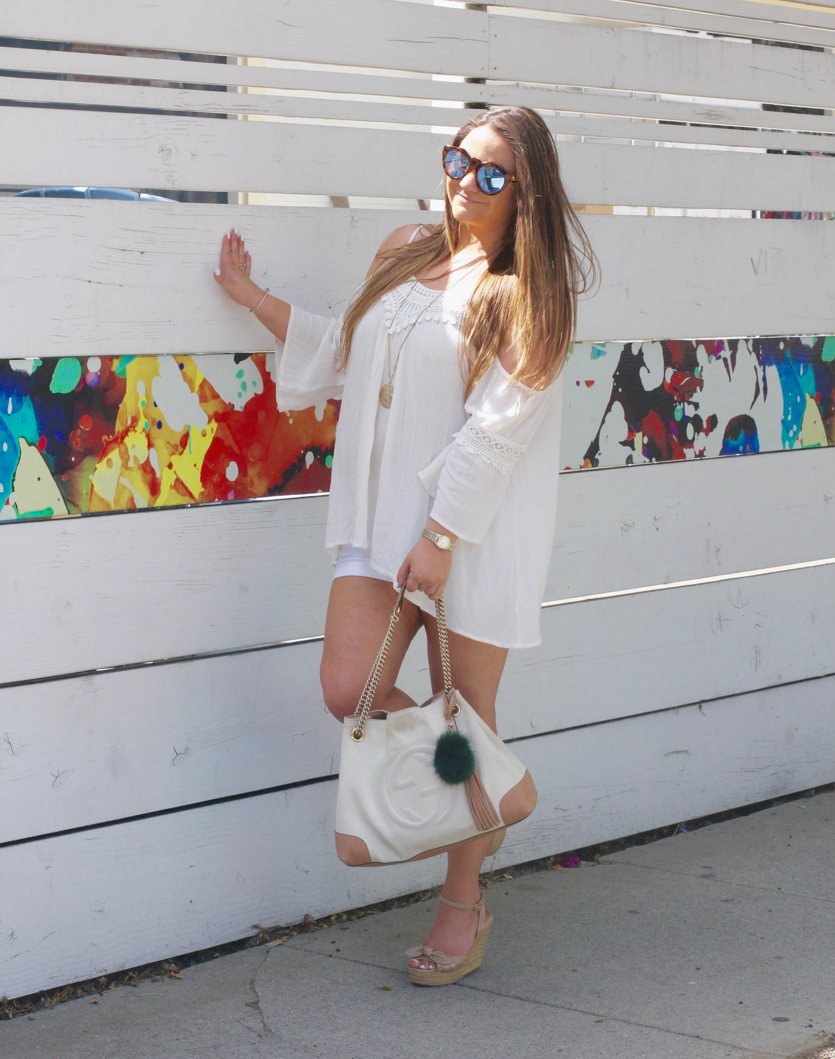 missyonmadison, melissa tierney, fashion blogger, fashion blog, style blog, style blogger, la blogger, cold shoulder top, off the shoulder top, target, target style, summer style, summer 2015 trends, summer trends, summer 2016 style, espadrille wedges, nude espadrille wedges, gucci soho bag, green puff keychain, pom pom keychain, white gucci soho bag, le specs necklace, le specs sunglasses, white cotton shorts,