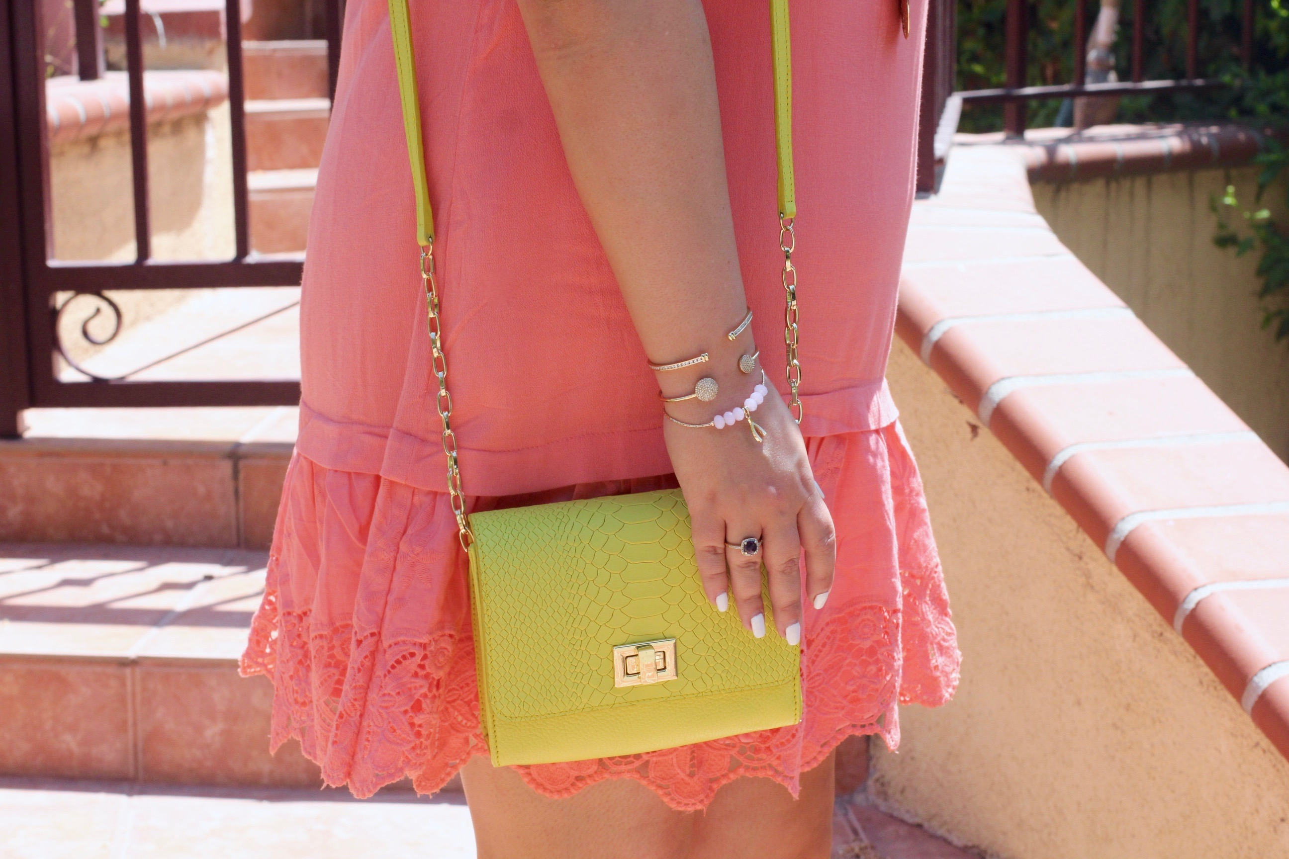 missyonmadison, melissa tierney, coral dress, coral off the shoulder dress, fashion blogger, la blogger, coral heels, coral block heels, gigi ny, yellow gigi ny bag, neon yellow gigi ny bag, ray bans, blue aviators, mirrored aviators, coral dress, hair goals, summer style, la style, how to wear color, pop of color, style blogger,