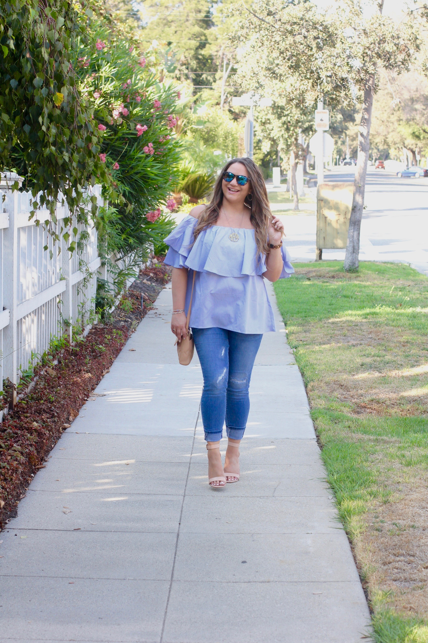 missyonmadison, melissa tierney, la blogger, ripped skinny jeans, off the shoulder top, cold shoulder top, make me chic, blue off the shoulder top, summer style, nude ankle strap sandals, nude ankle strap heels, nude block sandals, vera bradley, vera bradley crossbody bag, gold acrylic monogram necklace, nectar sunglasses,