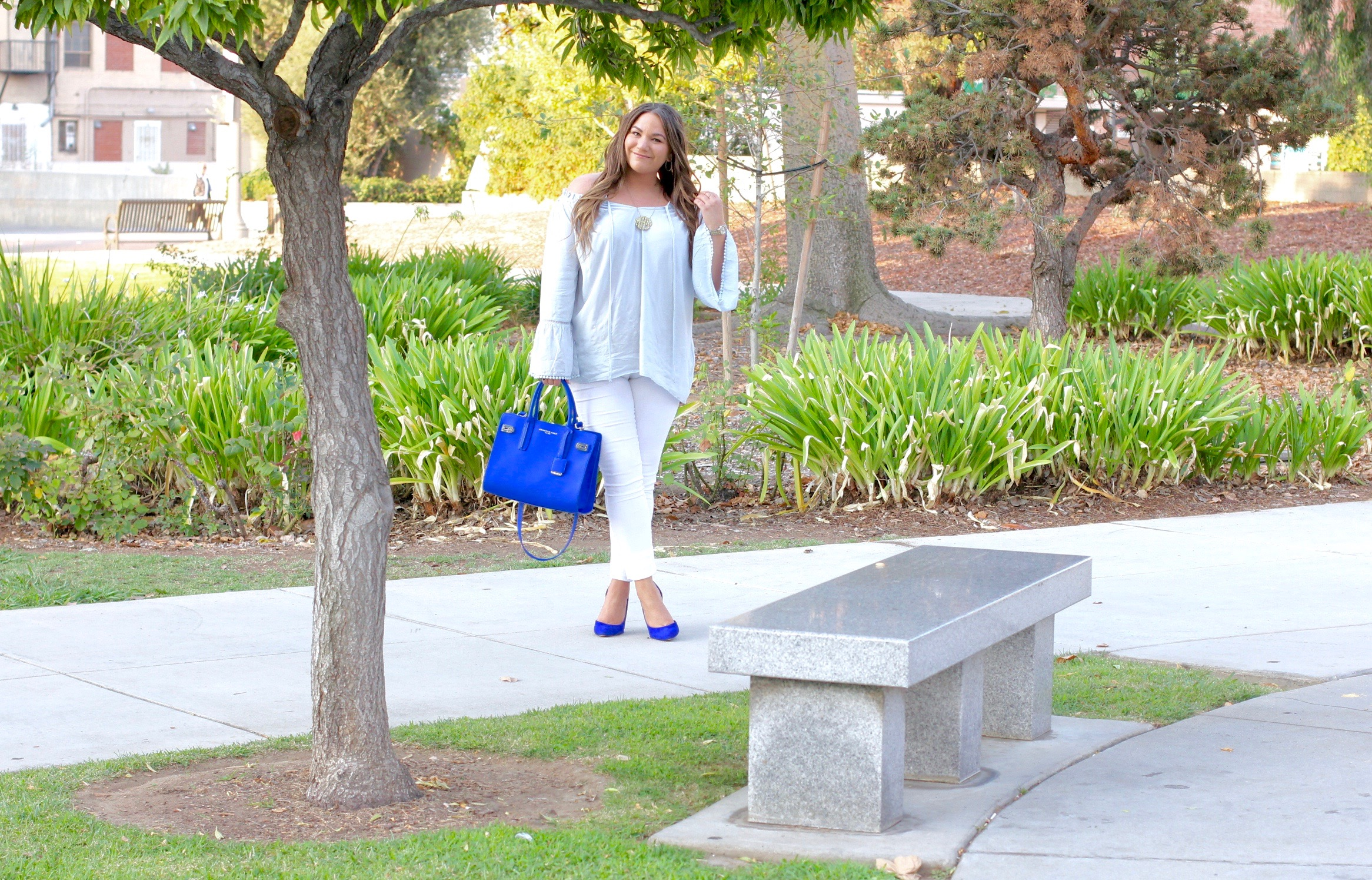 missyonmadison, baublebar monogram necklace, acrylic monogram necklace, white skinny jeans, old navy, old navy white skinny jeans, make me chic, make me chic off the shoulder bell top, cold shoulder top, off the shoulder blouse, la blogger, blogger, style blogger, la style, fall style, how to wear white jeans, how to style white after labor day, cobalt blue satchel, cobalt blue bag, blue suede shoes, blue pumps, cobalt blue pumps, cobalt blue suede pumps, hair goals, brunette hair, fashion blogger, fall trends, street style,