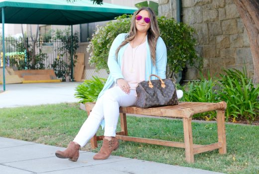 missyonmadison, melissa tierney, fashion blogger, style blogger, la blogger, fall style, all for color, all for color cardigan, white skinny jeans, old navy skinny jeans, old navy rockstar jeans, sugar brand shoes, ankle booties, ankle boots, tan ankle boots, louis vuitton speedy bag, louis vuitton bag, puff key chain, pink chiffon camisole, blue cardigan, pink aviators, pink ray bans, fall 2016 blogger,