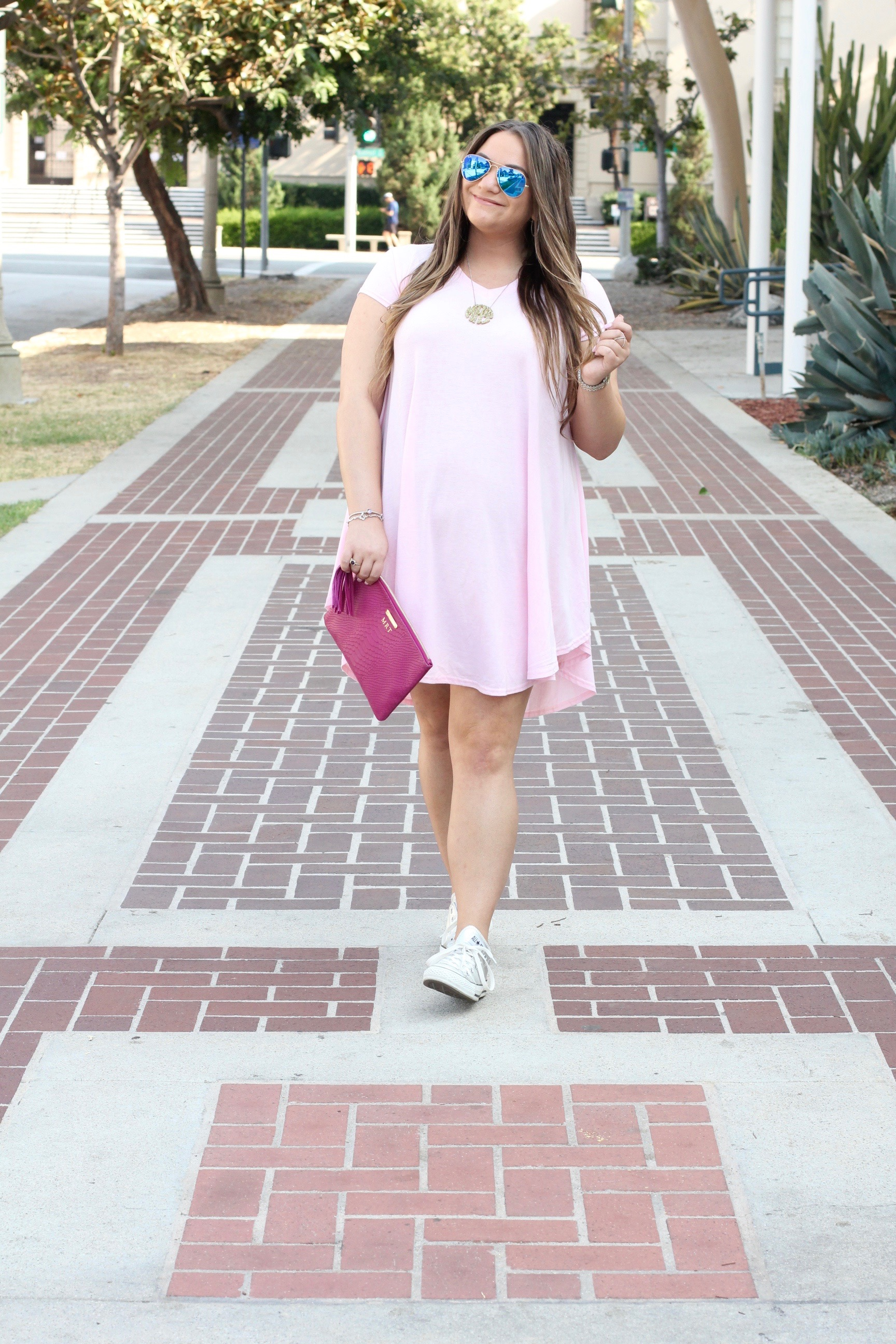 missyonmadison, missy on madison, melissa tierney, converse, back to school style, silver converse, chuck taylors, fashion blogger, fashion blog, pink t shirt dress, pink shirt dress, sammy dress, gigi ny, gigi ny clutch, magenta clutch, ray bans, mirrored aviators, la blogger, cali girl, summer style, labor day weekend, casual wear,