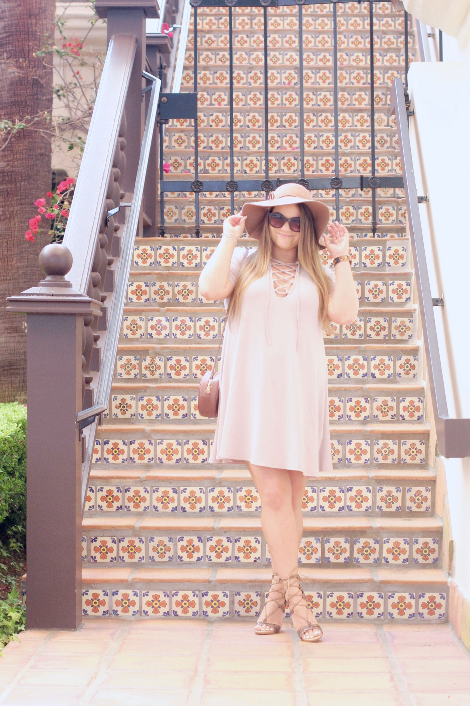 missyonmadison, melissa tierney, heavenly couture, heavenly couture dress, lace up dress, lace up front dress, beige lace up front dress, style blogger, fashion blogger, la blogger, la style, fall style, deblossom shoes, lace up heels, lace up reptile heels, lace up heeled sandals, ora delphine, crossbody bag, black sunglasses, tan floppy hat, what to wear for fall, fall 2016 style, straight hair for fall, fall heels, beige swing dress, lace up dress,
