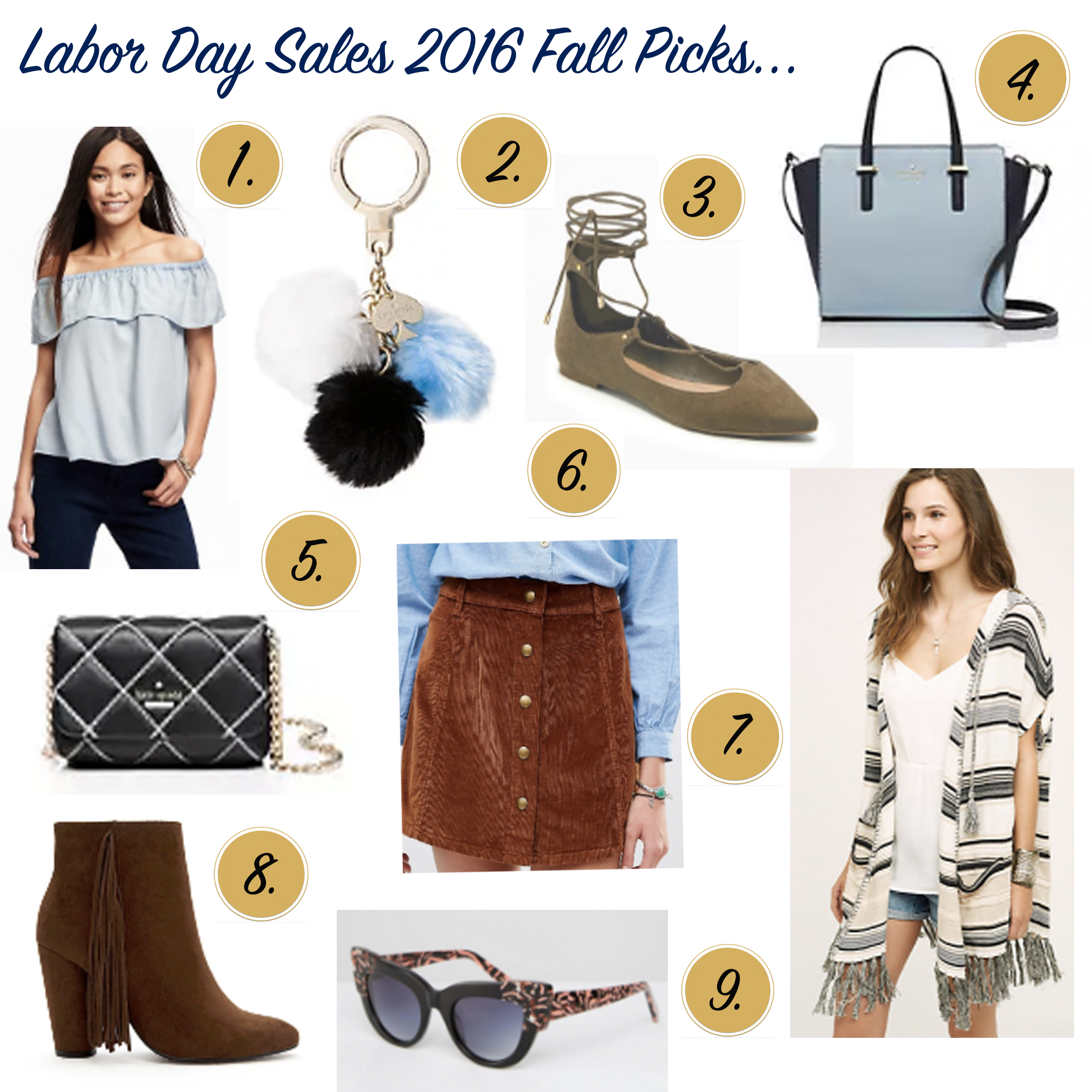 labor day sales 2016, labor day sales, fall style, la blogger, missyonmadison, melissa tierney, missy on madison, kate spade labor day sale, kate spade, anthropologie sale, anthropologie labor day sale, asos labor day sale, asos sale, forever 21 sale, forever 21 labor day sale, black quilted bag, button front skirt, asos sunglasses, old navy, ols navy cold shoulder top, old navy labor day sale, lace up flats, pom pom key chain, old navy flats, style blogger, style guide, fall style guide, fashion blogger,