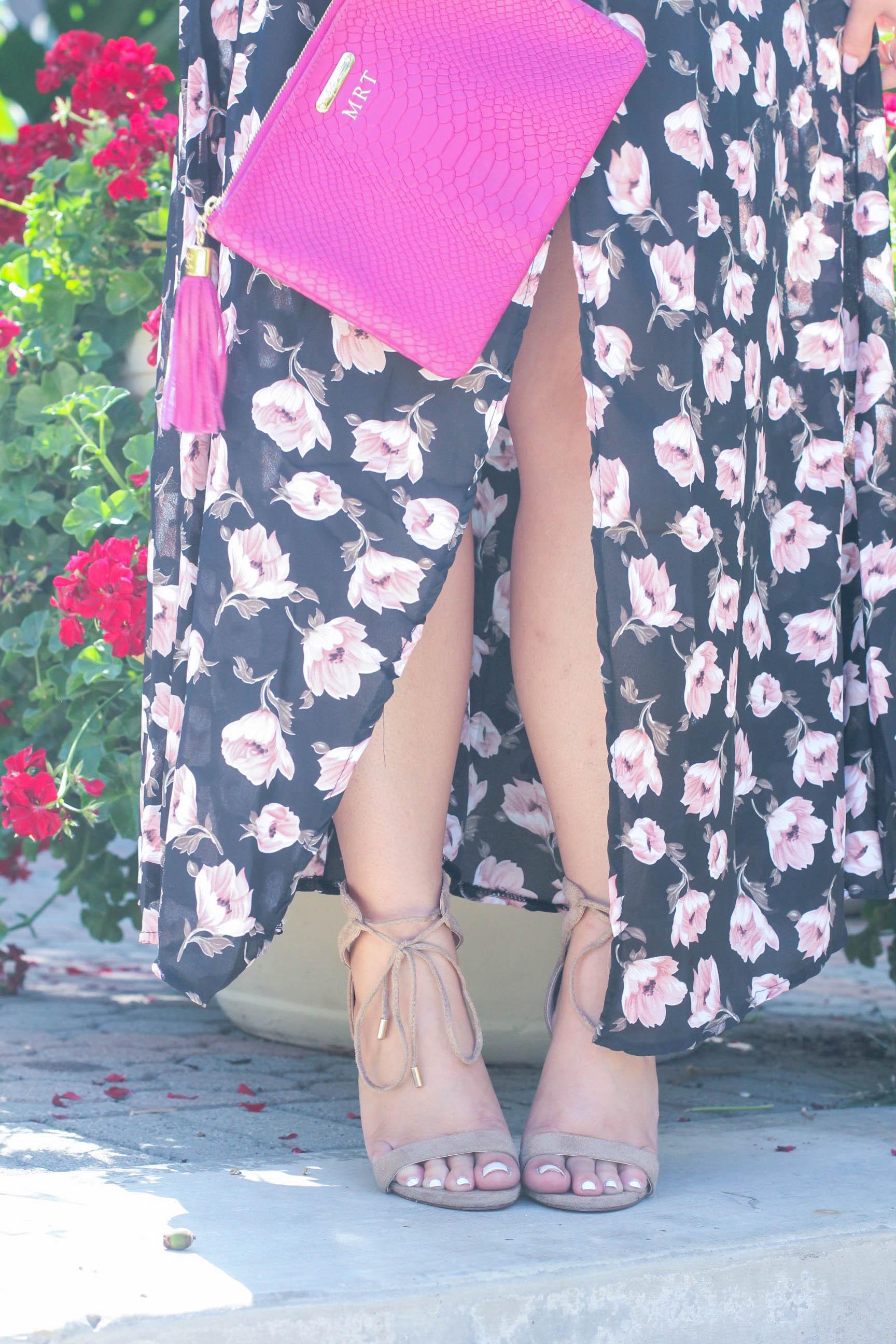 missyonmadison, melissa tierney, ami clubwear, floral maxi dress, ami clubwear maxi dress, fashion blogger, style blogger, fall style, la blogger, fall fashion, fall 2016 trends, ootd, fall outfit inspo, gigi ny, magenta clutch, gigi ny magenta clutch, nude lace up heels, nude heels,