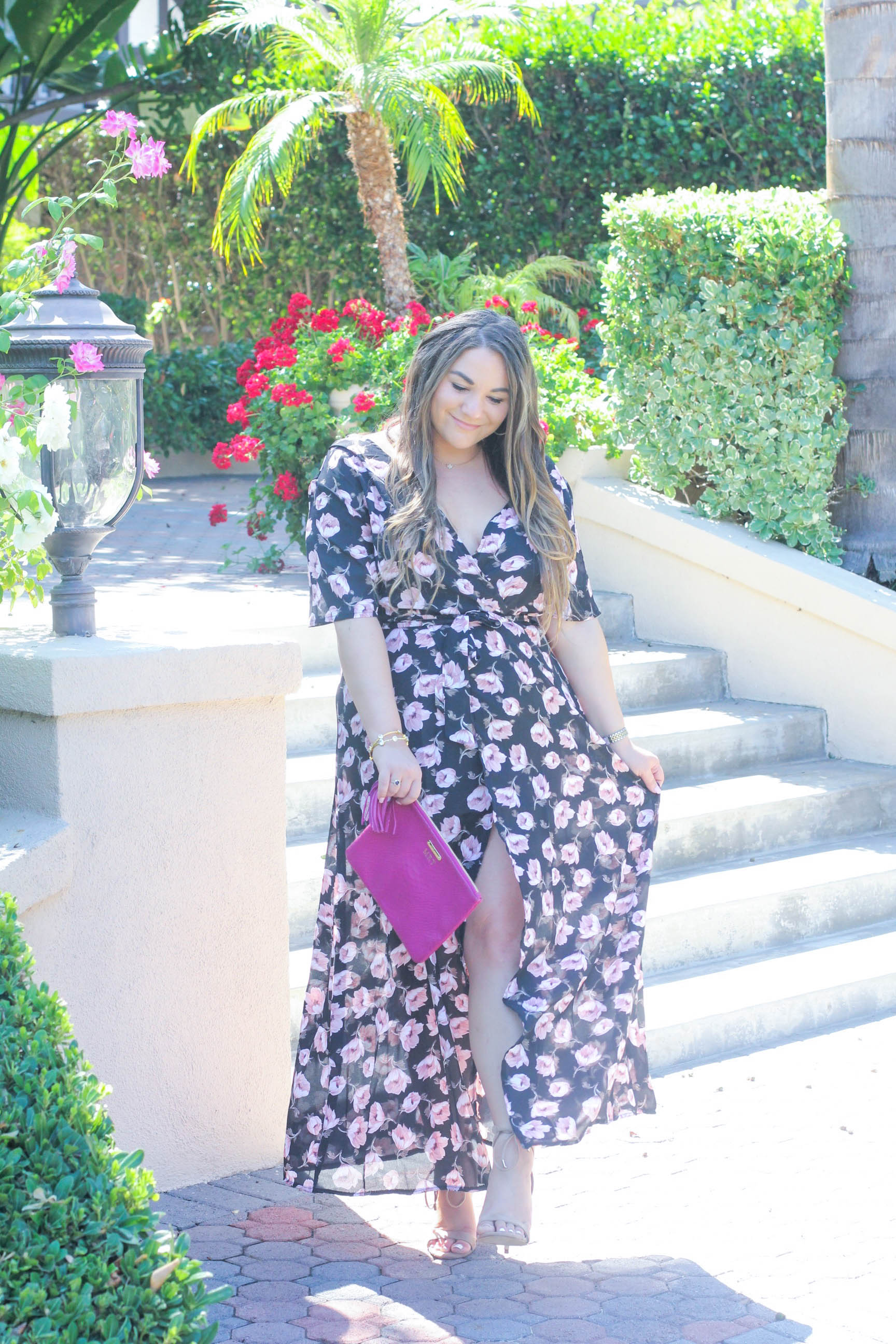 missyonmadison, melissa tierney, ami clubwear, floral maxi dress, ami clubwear maxi dress, fashion blogger, style blogger, fall style, la blogger, fall fashion, fall 2016 trends, ootd, fall outfit inspo, gigi ny, magenta clutch, gigi ny magenta clutch, nude lace up heels, nude heels,