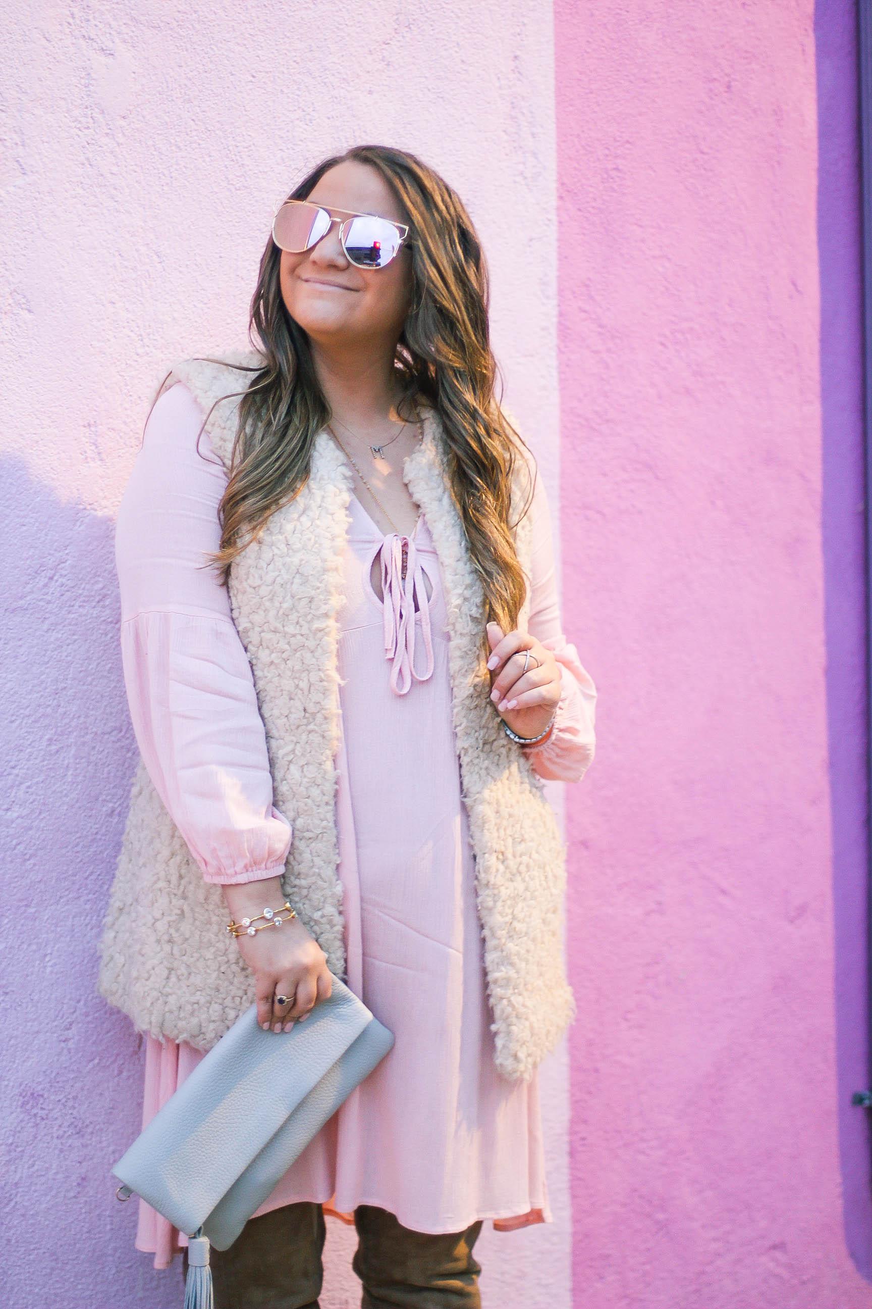 missyonmadison, melissa tierney, fashion blogger, la blogger, la style, fall style, zaful, pink dress, pink a line dress, faux fur vest, gigi ny, gigi new york clutch, otk boots, beige otk boots, style blogger, what i wore,