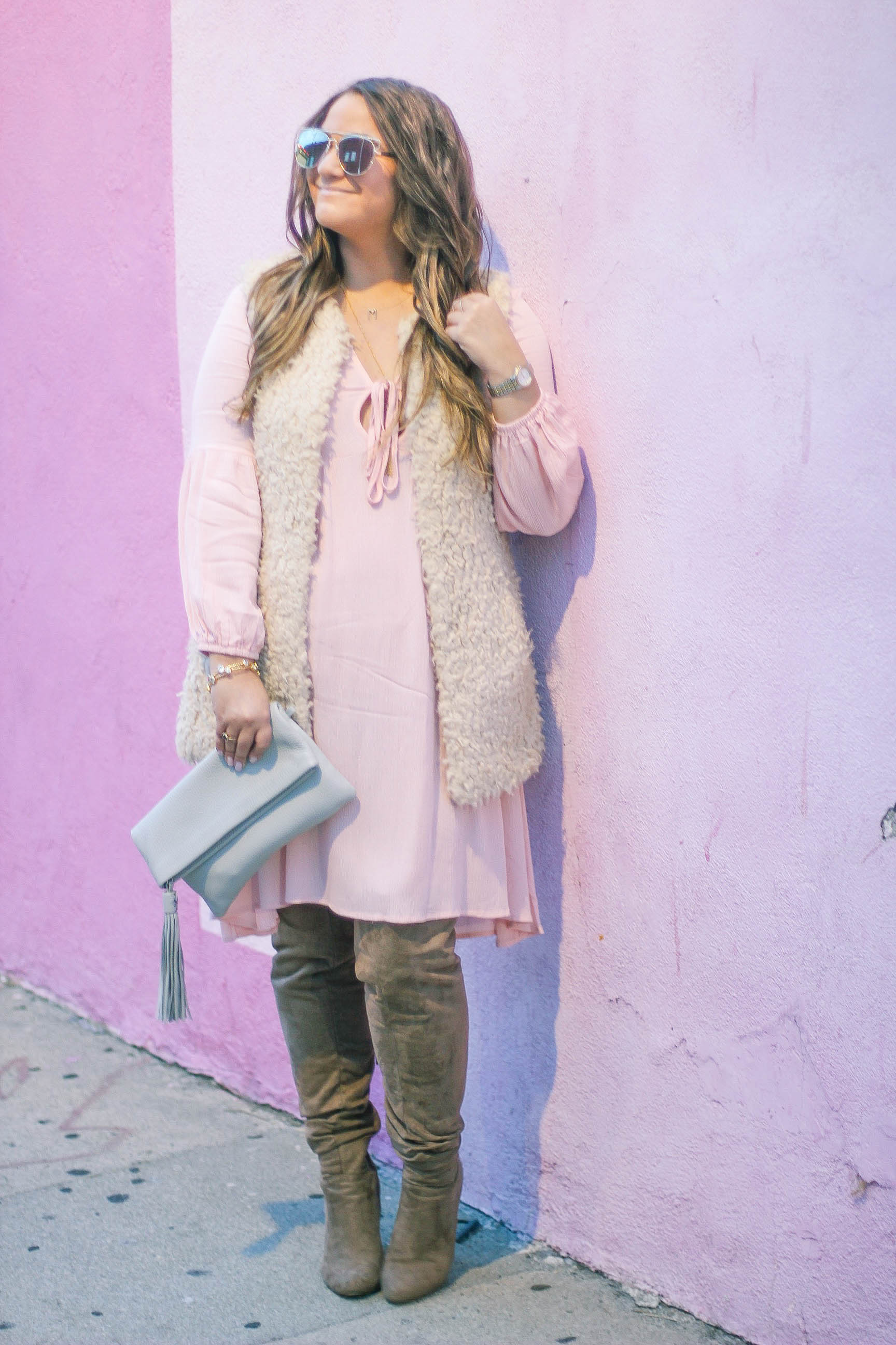 missyonmadison, melissa tierney, fashion blogger, la blogger, la style, fall style, zaful, pink dress, pink a line dress, faux fur vest, gigi ny, gigi new york clutch, otk boots, beige otk boots, style blogger, what i wore,