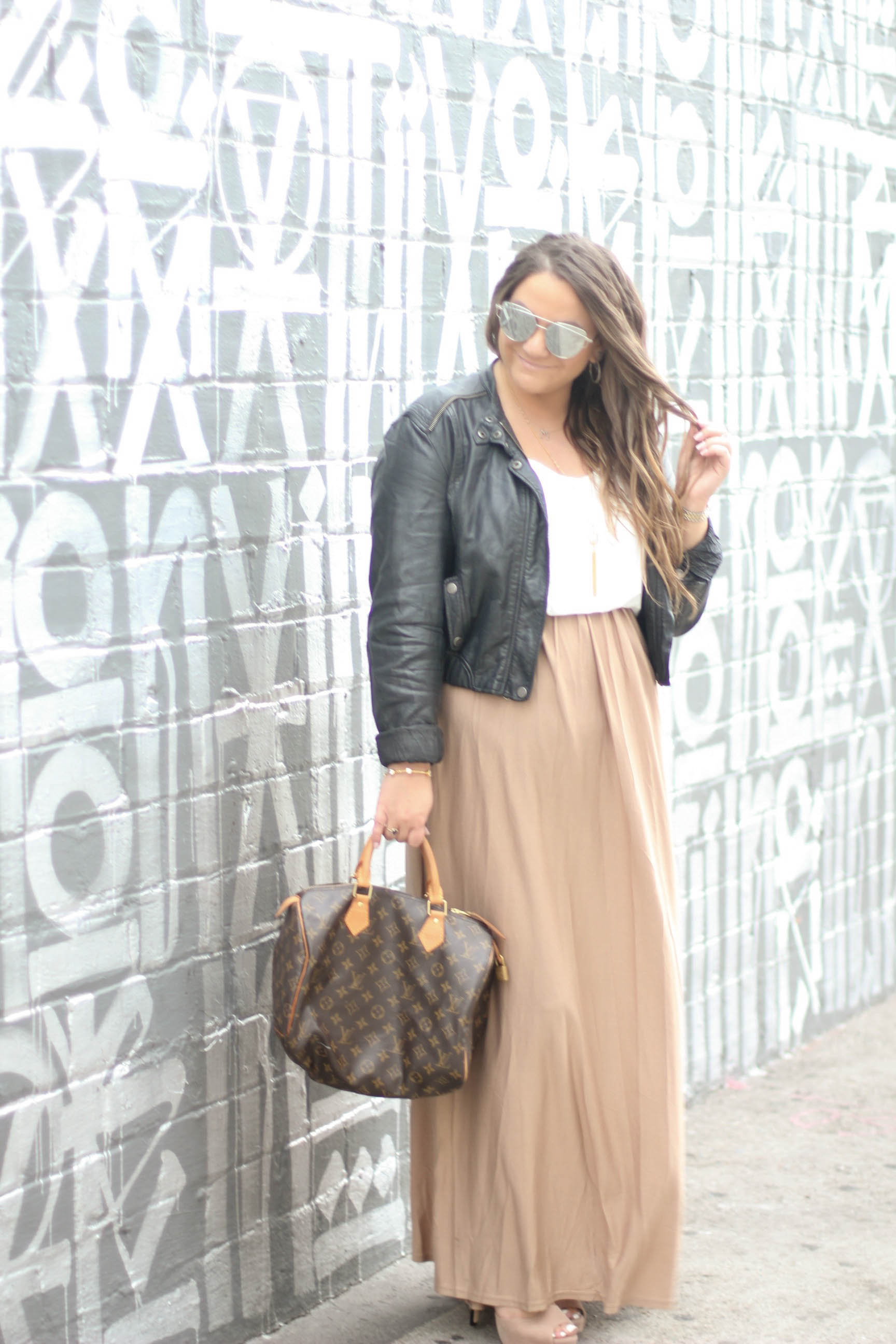 missyonmadison, melissa tierney, fashion blogger, blogger style, winter style, fashion goals, outfit inspo, outfit goals, de blossom heels, two tone heels, maxi dress, how to style a maxi dress for winter, leather jacket, moto jacket, how to style a moto jacket, louis vuittion, louis vuitton speedy bag, mirrored sunglasses, mirrored aviators, winter style, brunette hair, curled hair, winter hairstyle, la blogger, la style, backless maxi dress, winter maxi,