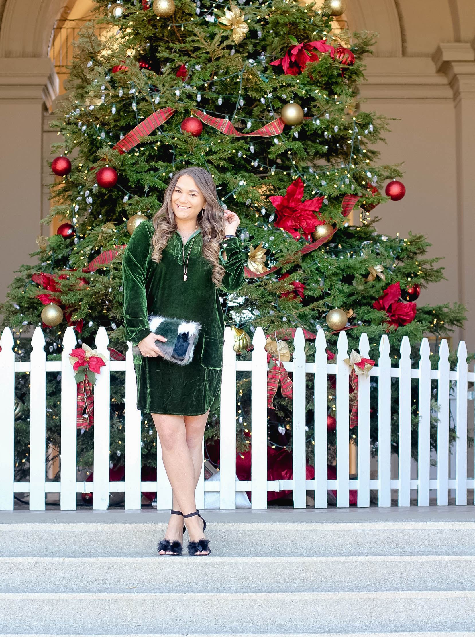 missyonmadison, MissyOnMadisonInstagram, melissa tierney, holiday style, velvet dress, zaful, green velvet dress, faux fur heels, furry heels, furry clutch, faux fur clutch, vera bradley, holiday gifting, hair goals, blogger style, outfit inspo, holiday outfit inspo, winter style, christmas style, merry christmas, christmas tree, christmas 2016, pasadena christmas tree, pasadena christmas, la blogger,