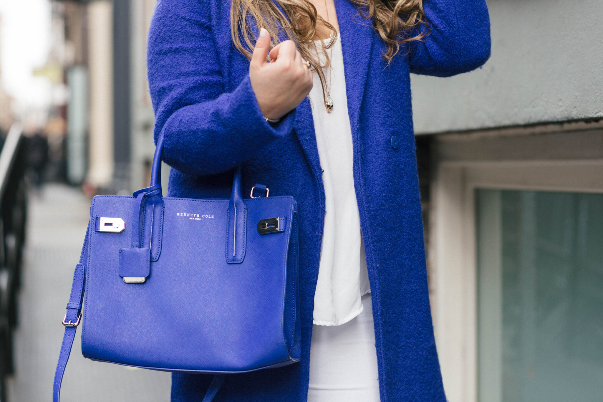 missyonmadison, melissa tierney, fashion blog, fashion blogger, missyonmadison instagram, style blogger, style blog, la blogger, blue coat, cobalt blue coat, cobalt blue pumps, blue pumps, white skinny jeans, white distressed skinny jeans, beauty blogger, nyc blogger, new york city blogger, nyc blogger, white chiffon blouse, cobalt blue satchel, blue plaid scarf,