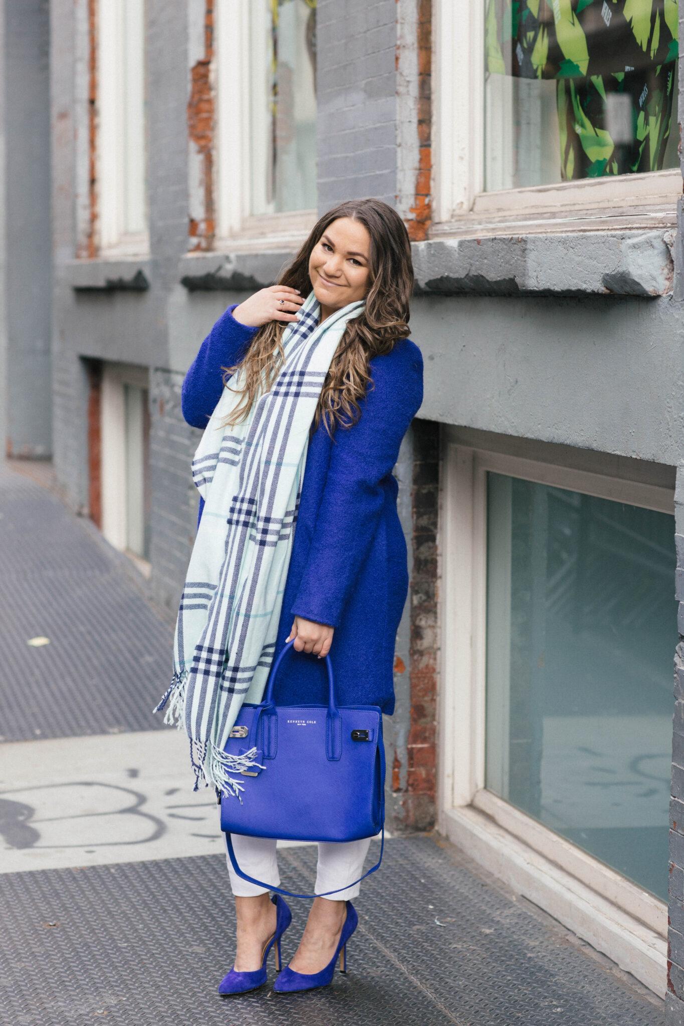 missyonmadison, melissa tierney, fashion blog, fashion blogger, missyonmadison instagram, style blogger, style blog, la blogger, blue coat, cobalt blue coat, cobalt blue pumps, blue pumps, white skinny jeans, white distressed skinny jeans, beauty blogger, nyc blogger, new york city blogger, nyc blogger, white chiffon blouse,