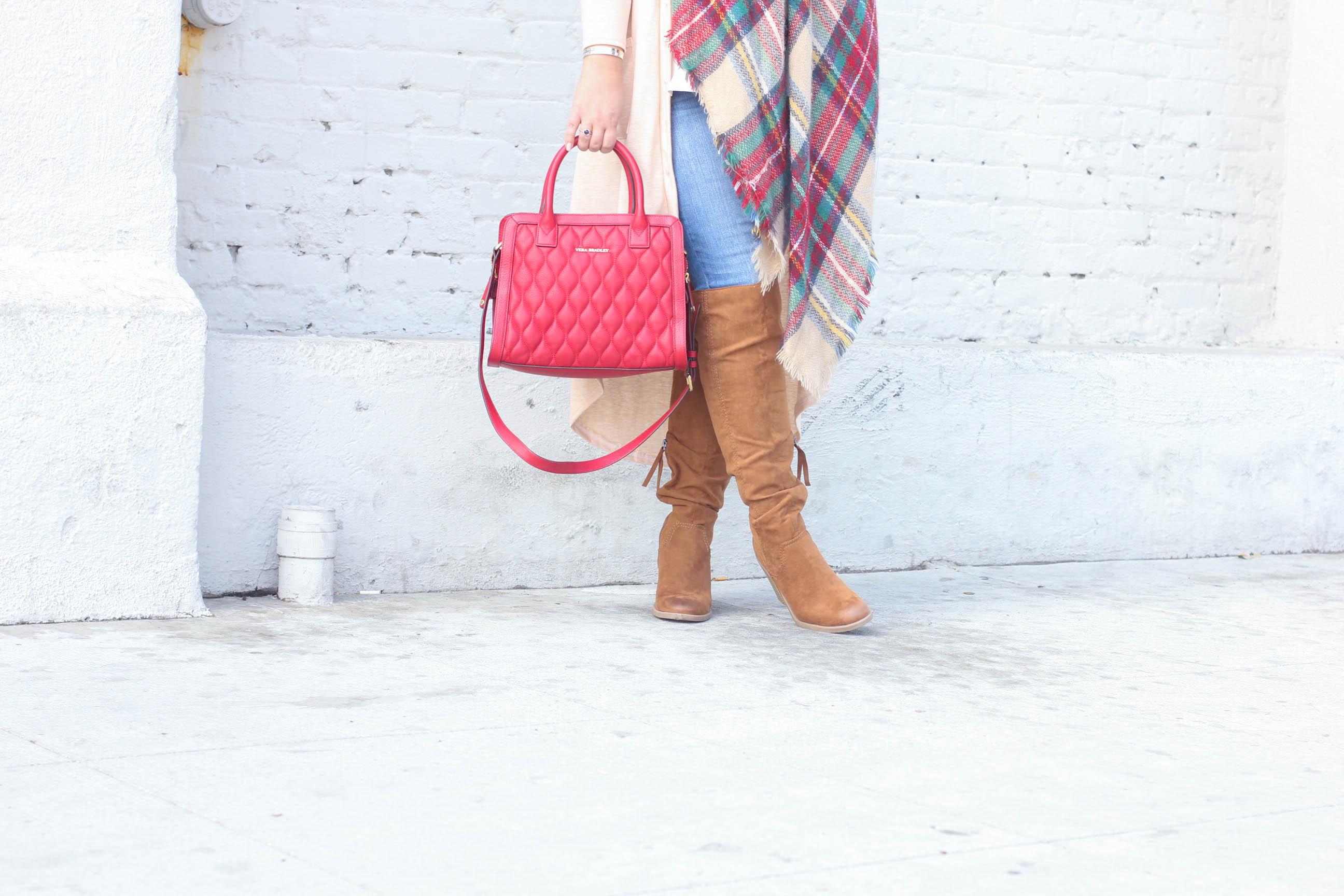 blanket scarf, how to wear a blanket scarf, la winter style, jeggings, mirrored sunglasses, silver sunglasses, red leather satchel, missyonmadison, missyonmadison instagram, fashion blogger, melissa tierney, winter style, la blogger, vera bradley, otk boots, target boots, target jeggings, target skinny jeans, white chiffon camisole, beige duster cardigan, beige cardigan,