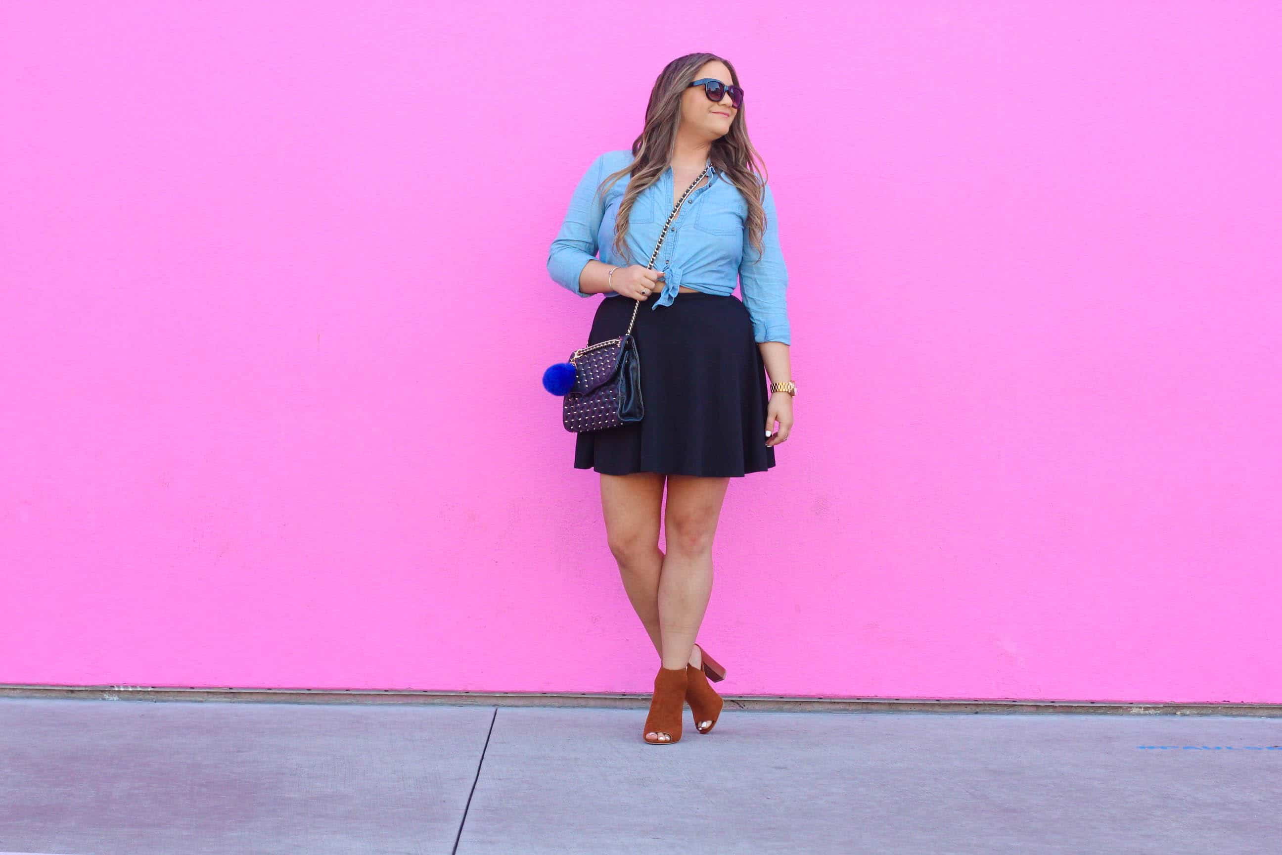 missyonmadison, melissa tierney, missyonmadison instagram, fashion blog, fashion blogger, bloglovin, style goals, style watch, forever 21, black mini skirt, black skater skirt, chesnut booties, tan booties, peep toe booties, rebecca minkoff, quilted bag, rebecca minkoff affair bag, rebecca minkoff quilted bag, wayfarer sunglasses, raybans, womens raybans, womens wayfarer sunglasses, that pink wall, pink wall la, pink wall, wall charades, wall crawl, blue pom pom, blue pom pom keychain, wall crawl la, la wall crawl, best murals in la, paul smith pink wall, la blogger, la style, chambray button down, old navy, chambray button down shirt,