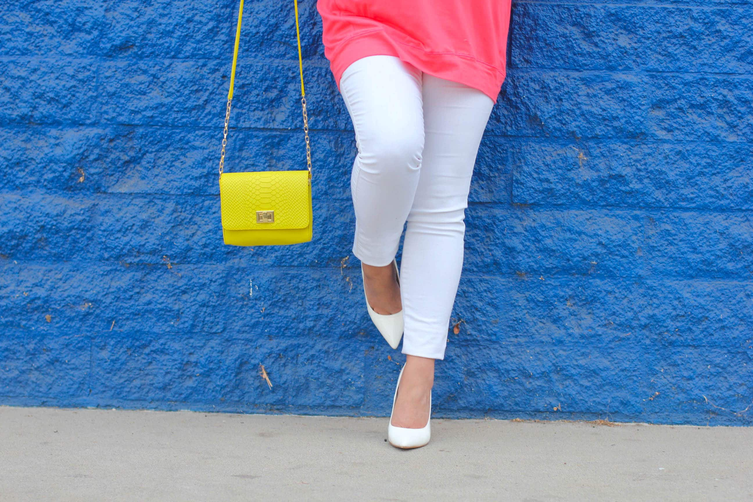 missyonmadison, melissa tierney, missyonmadison instagram, fashion blogger, style blogger, style blog, street style, pop of color, old navy rockstar jeans, old navy, old navy white skinny jeans, white skinny jeans, white pumps, white pointed toe pumps, gigi new york, gigi ny, gigi new york yellow crossbody bag, gigi ny bag, gigi ny corssbody, silver sunglasses, choies, pink tunic, pink long sleeve top, pink long sleeve tunic, la blogger, la style, wall crawl, wall traveled, la walls,