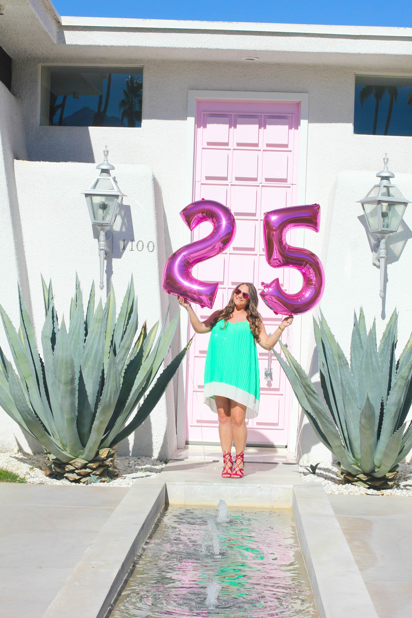 gianvito rossi lace up sandals, gianvito rossi, barneys ny, barneys warehouse sale, barneys sale, pink aviators, green dress, palm springs, palm springs pink door, pink door, instagram doors, wall charades, instagram doors, i have a thing with doors, missyonmadison, melissa tierney, missyonmadison instagram, la blogger, blogger style, turning 25, 25 things, happy birthday, birthday, birthday style, fashion blogger, mint green dress, green pleated dress, fuschia heels,