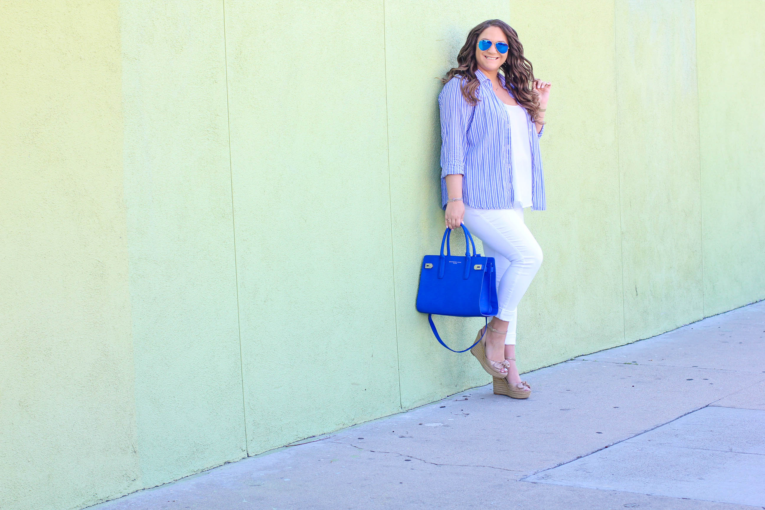 missyonmadison, melissa tierney, old navy, fashion blogger, spring style, spring trends, old navy style, fashion blogger, la blogger, neo nauticaul, nautical, white skinny jeans, white jeans, cobalt blue satchel, pin stripe shirt, striped button down, style blogger, espadrille wedges, style goals, old navy rockstar jeans,