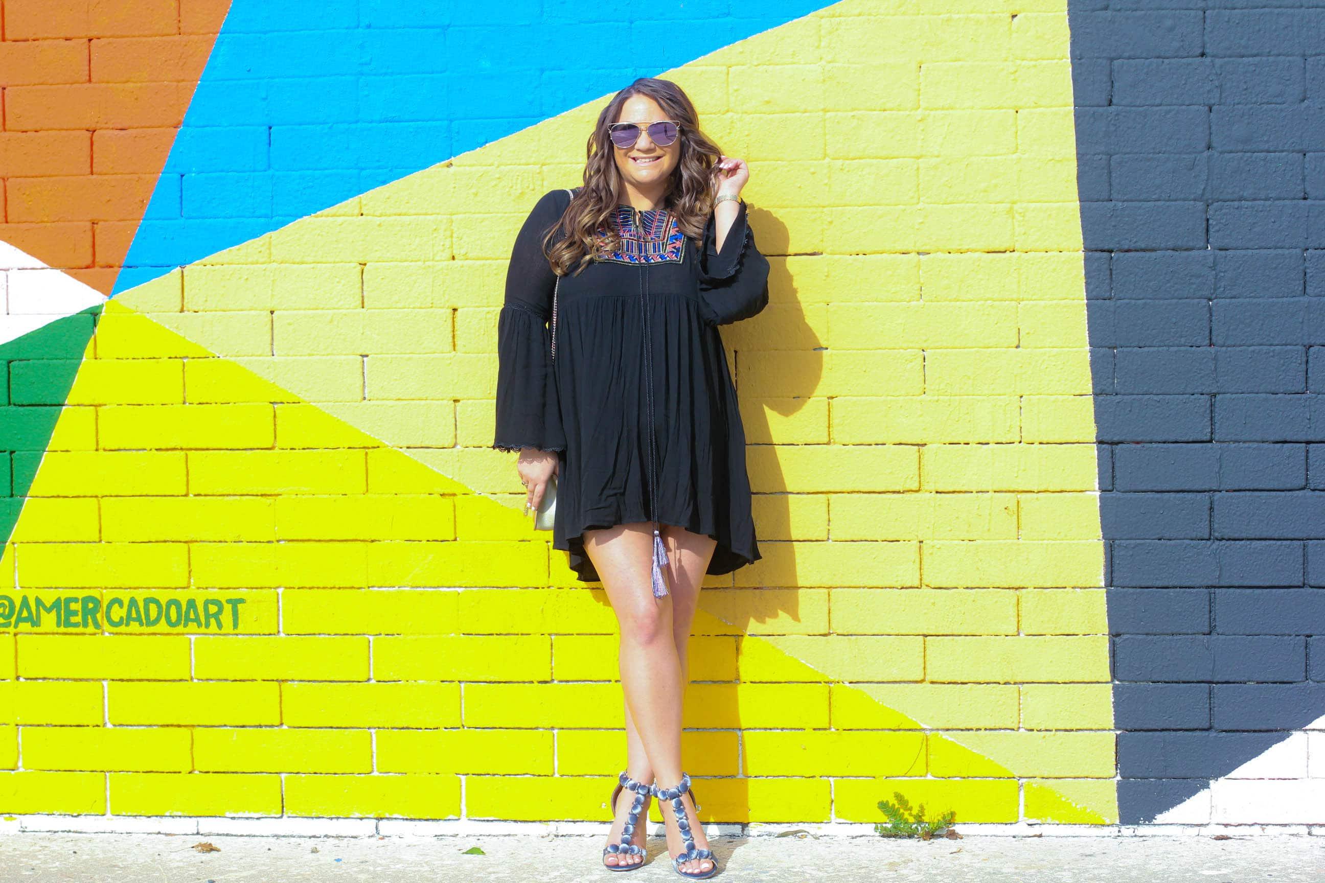 missyonmadison, melissa tierney, high heels, she is chic, she is shic, shoe goals, strappy sandals, fashion blogger, style blogger, la blogger, black tribal dress, shein, black embroidered dress, mirrored aviators, gold bag, gold crossbody bag, la walls, wall crawl, la murals, la street art,
