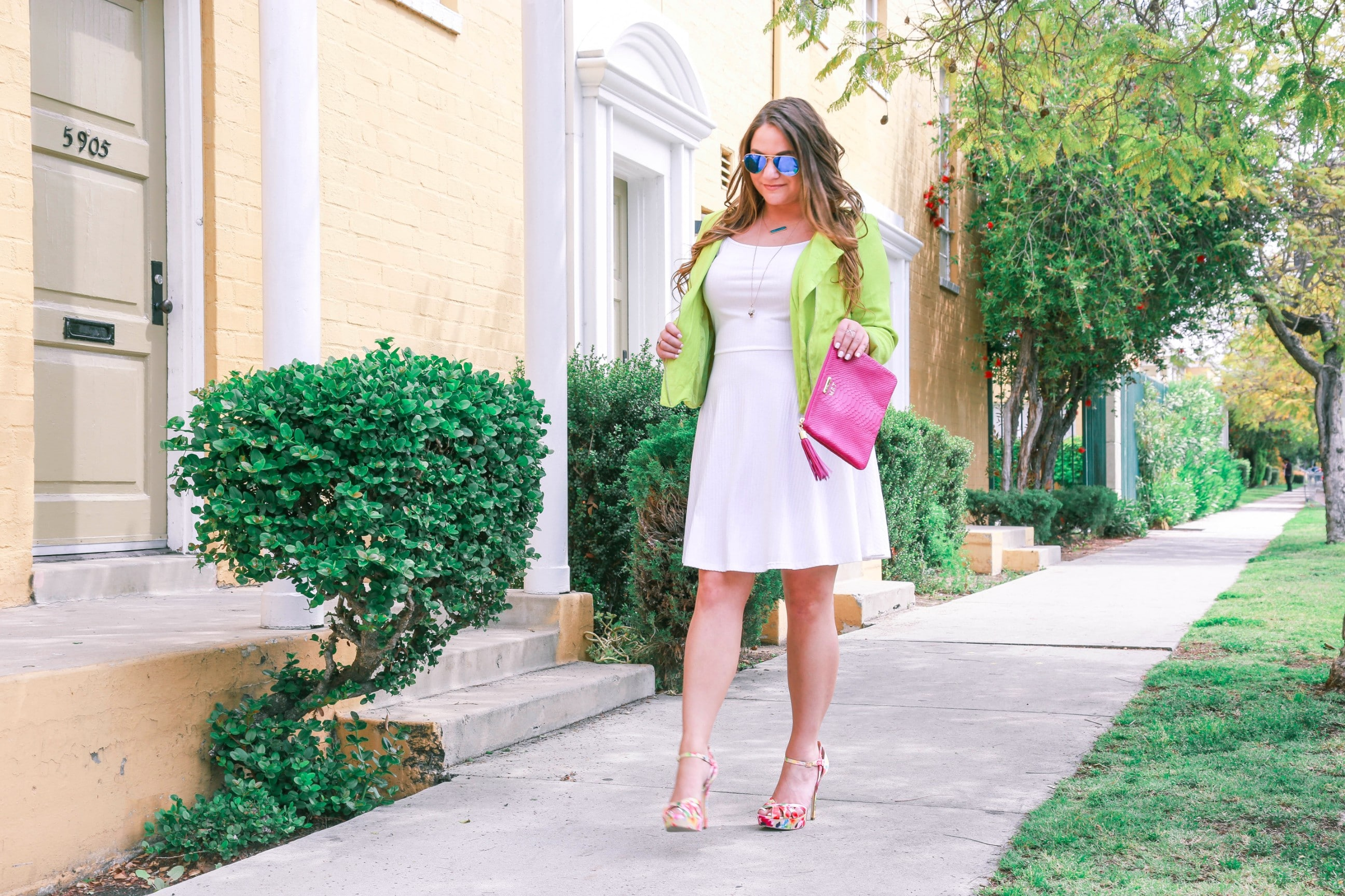 missyonmadison, melissa tierney, missy on madison instagram, fashion blog, fashion blogger, style blogger, spring style, nina shoes, floral heels, floral pumps, white a line dress, white dress, lime green jacket, lime green moto jacket, neon moto jacket, neon lime green moto jacket, floral heeled sandals, raybans, blue raybans, blue aviators, gigi ny clutch, gigi ny magenta uber clutch, la blogger,