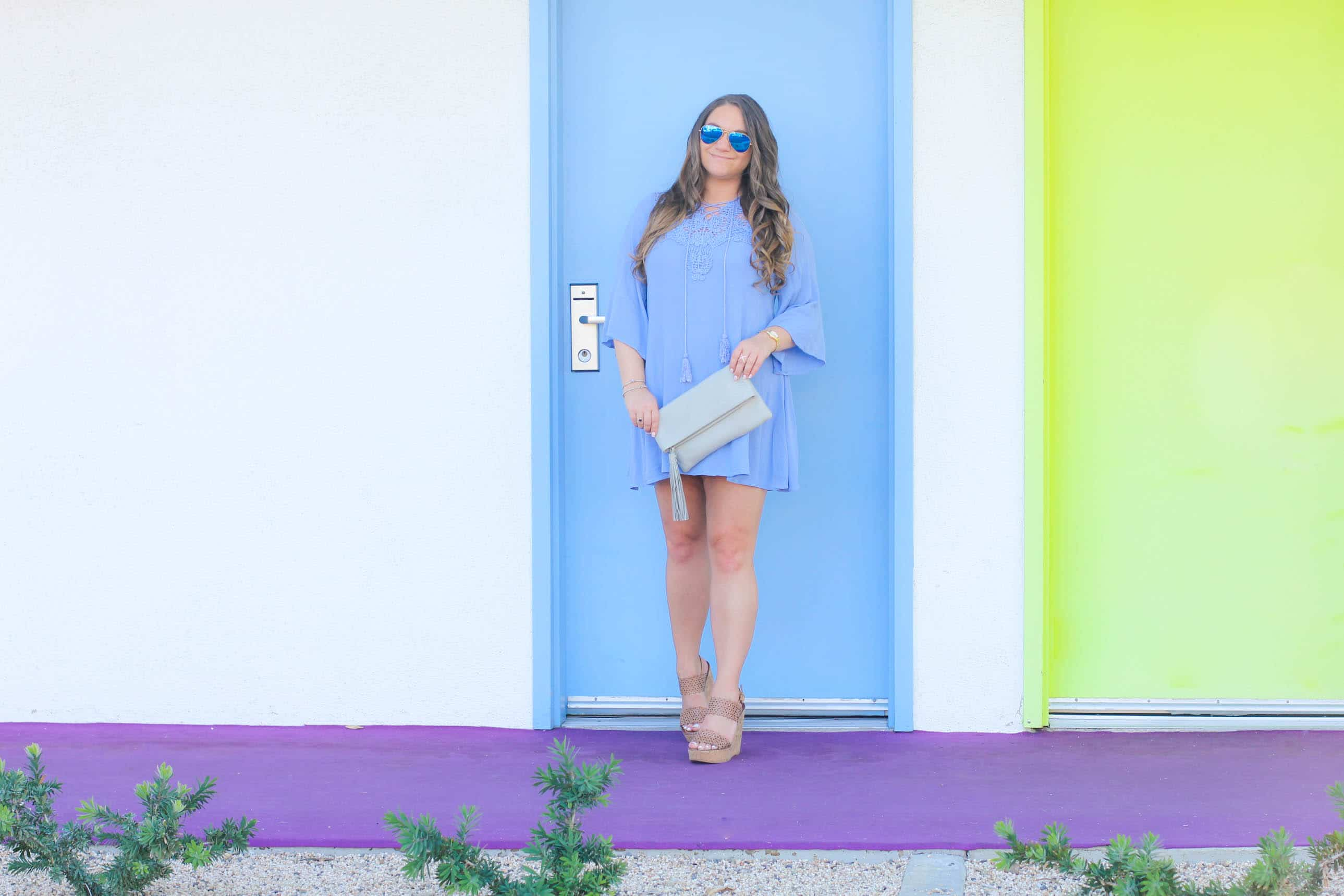 missyonmadison, missy on madison instagram, fashion blogger, la blogger, style blogger, outfit inspo, outfit goals, baby blue crochet dress, blue crochet dress, tory burch, tory burch wedges, perforated tan wedges, tan wedge sandals, gigi ny clutch, gigi ny gray bag, gigi ny gray clutch, spring style, spring style inspo, long sleeve crochet dress, ray bans, mirrored aviators, saguaro palm springs, saguaro hotel, palm springs style,
