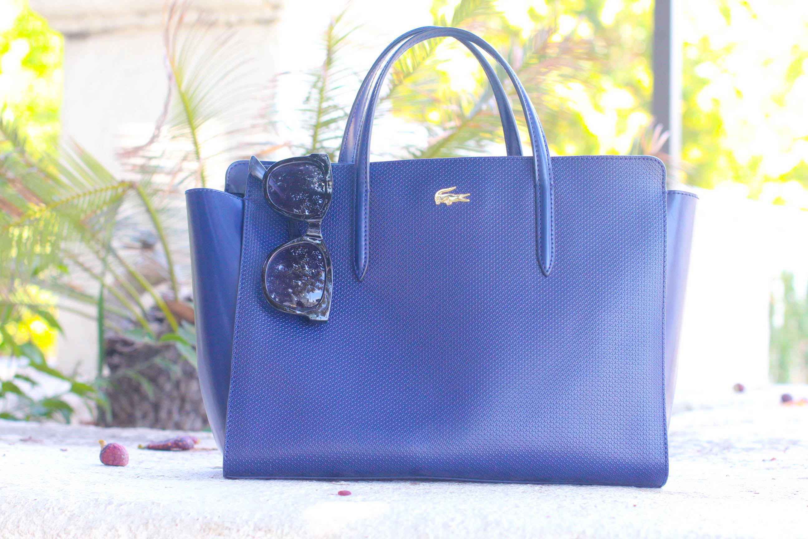 missyonmadison, missy on madison instagram, melissa tierney, la blogger, fashion blogger, style blogger, beverly hills, beverly hills style, navy aline dress, navy blue a line dress, navy blue and white a line dress, nautical dress, lacoste tote bag, lacoste satchel, navy lacoste bag, monogram necklace, black wayfarer sunglasses, white pointed toe pumps, white pumps, spring style, what to wear for an interview, spring style for work, office style, blue a line dress, white skinny belt,