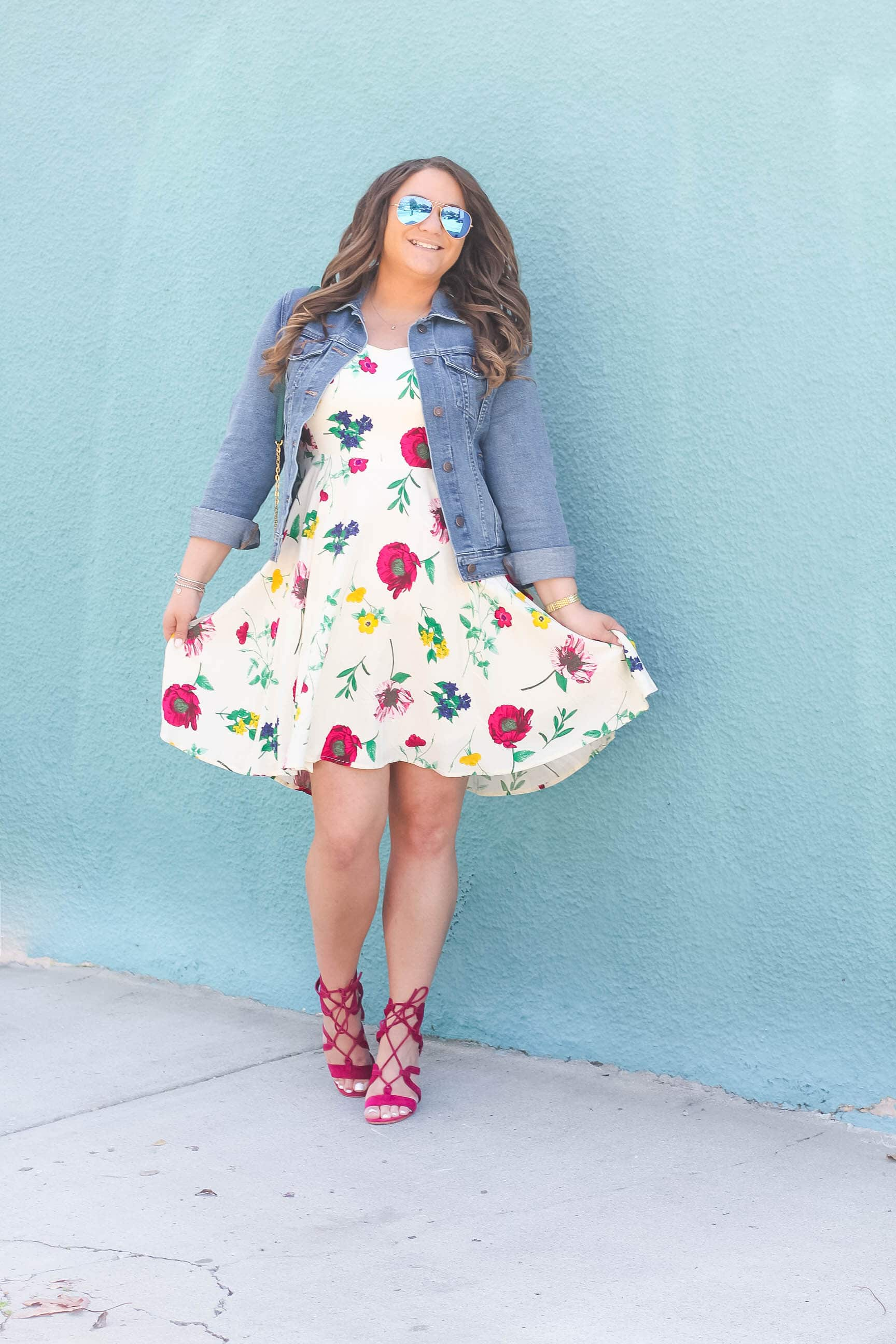 missyonmadison, missyonmadison instagram, melissa tierney, la blogger, style blogger, fashion blogger, fashion goals, outfit inspo, summer style, summer trends, floral dress, floral fit and flare dress, old navy, old navy cami dress, old navy floral dress, old navy denim jacket, denim jacket, raybans, rayban aviators, gianvito rossi, gianvito rossi lace up sandals, lace up sandals, vera bradley, vera bradley cross body bag, vera bradley emerald cross bodybag, curled hair, hair extensions, beauty blogger, outfits under $50,
