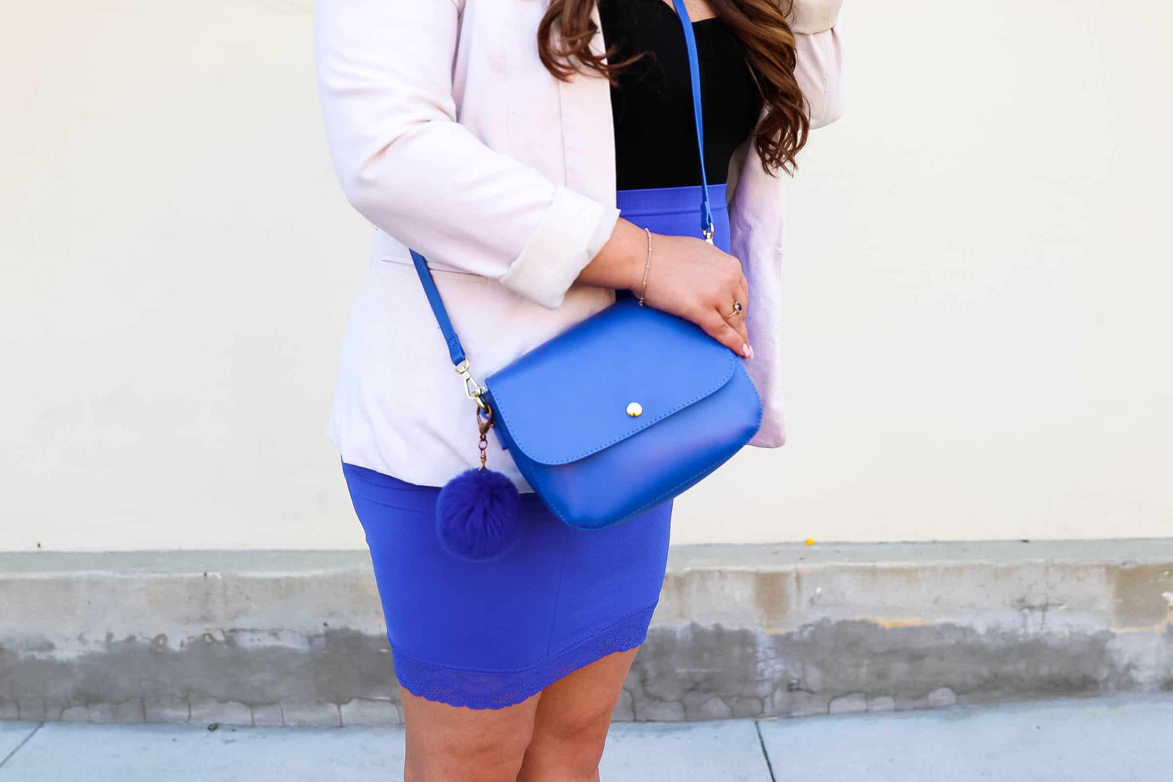missyonmadison, missyonmadison instagram, fashion blogger, blogger style, cobalt blue skirt, cobalt blue pencil skirt, white boyfriend blazer, black bodysuit, intermix, jewel toned, white heels, white ankle strap heels, style blogger, charming charlie, cobalt blue crossbody bag, charming charlie bag, la blogger, hair extensions, raybans, studio city, office wear, girls night out, date night, pop of color, affordable style, boyfriend blazer,