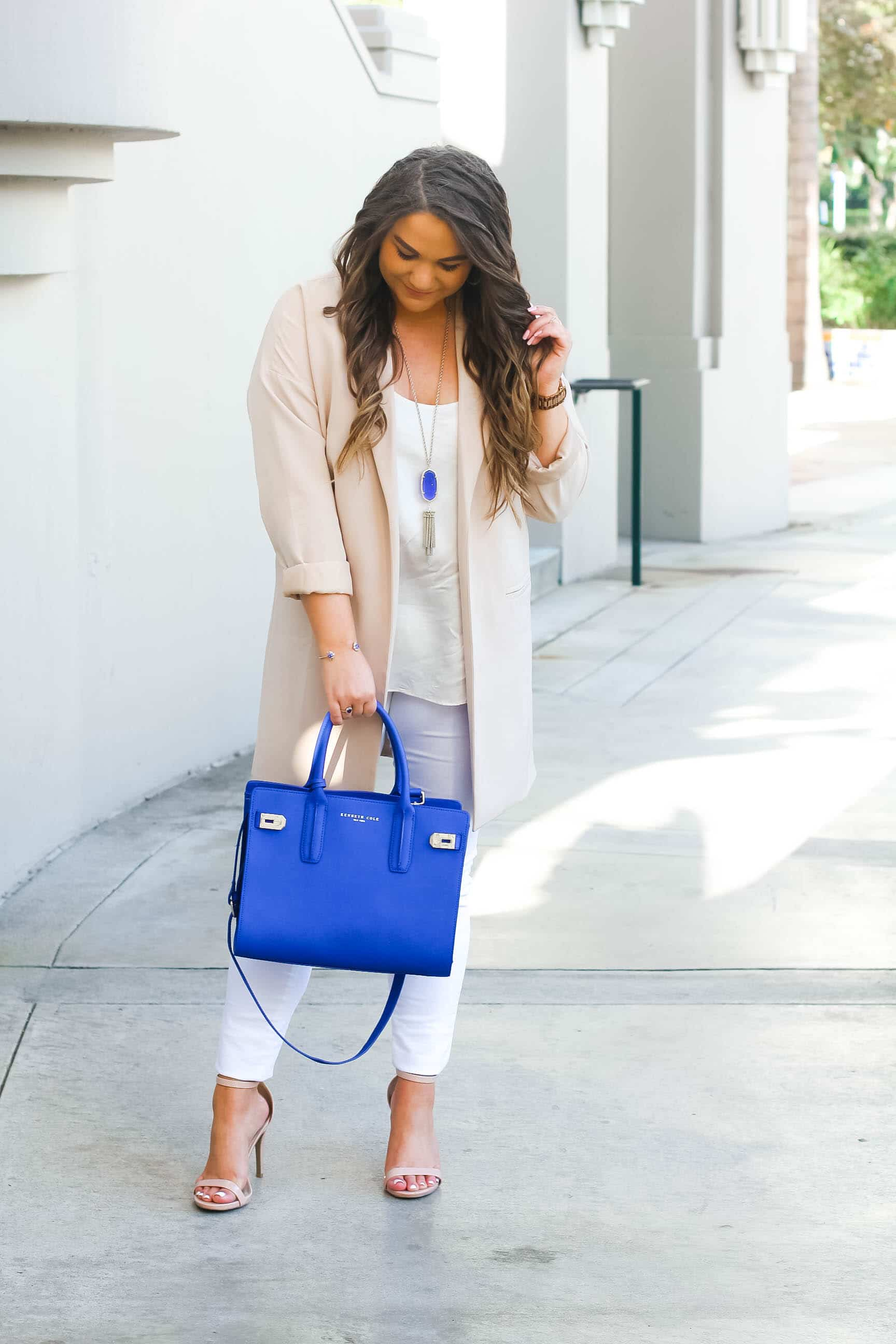 missyonmadison, fashion blogger, missyonmadison instagram, outfit inspo, la blogger, cobalt blue satchel, style blogger, summer style, nude ankle strap heels, old navy, white skinny jeans, old navy white rockstar jeans, beverly hills city hall, nude duster blazer, duster blazer, nude blazer, white chiffon camisole, topshop camisole, raybans, pop of color,