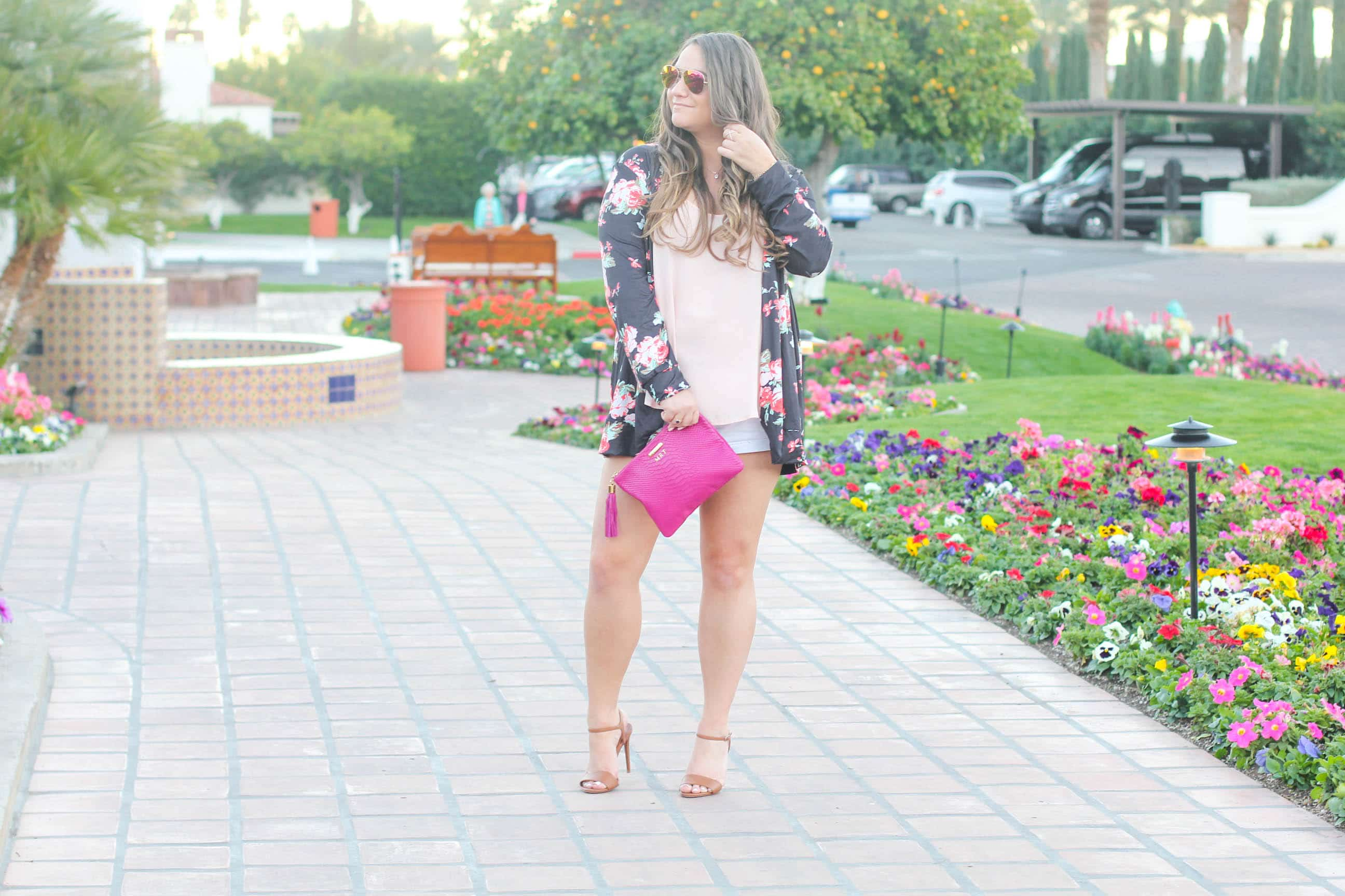 missyonmadison, missyonmadison instagram, fashion blogger, la blogger, style blogger, style diaries, gigi ny, gigi new york, gigi ny uber clutch, gigi ny magenta clutch, ralph lauren, ankle strap heels, tan ankle strap heels, tan ralph lauren sandals, ralph lauren ankle strap sandals, floral kimono, navy floral kimono, melissa tierney, raybans, la quinta resort, palm springs, palm springs style, la quinta resort and spa, ootd, summer style, summer 2017 style,