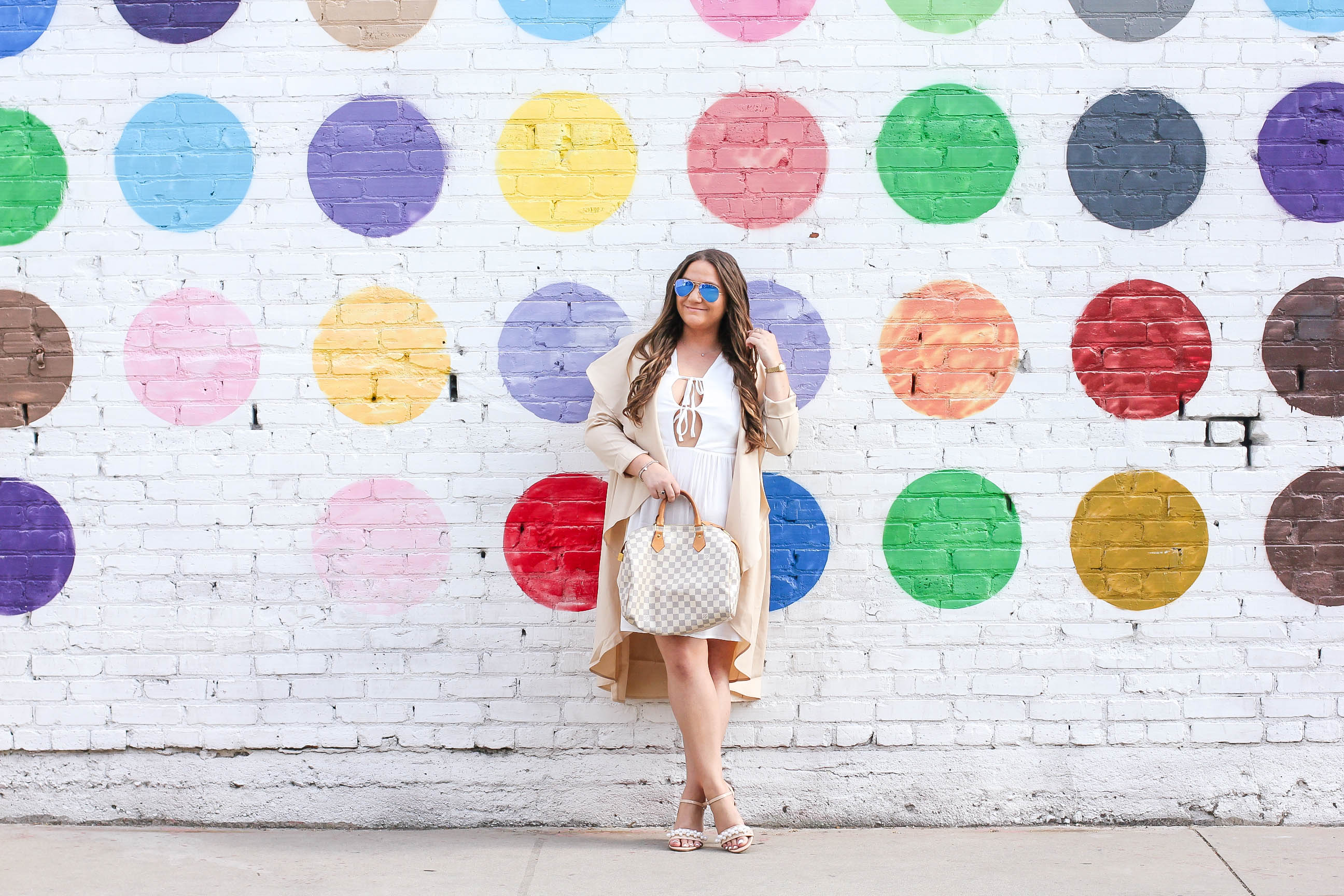 missyonmadison, missyonmadison instagram, melissa tierney, la blogger, fashion blogger, wall charades, studio diy wall crawl, polka dot wall, dtla polka dot wall, the springs la, ami clubwear, ankle strap heels, nude ankle strap sandals, louis vuitton speedy bag, raybans, white dress, white plunge dress, tan trench coat, trench coat, pearl heels, bloglovin, style blogger, street style,