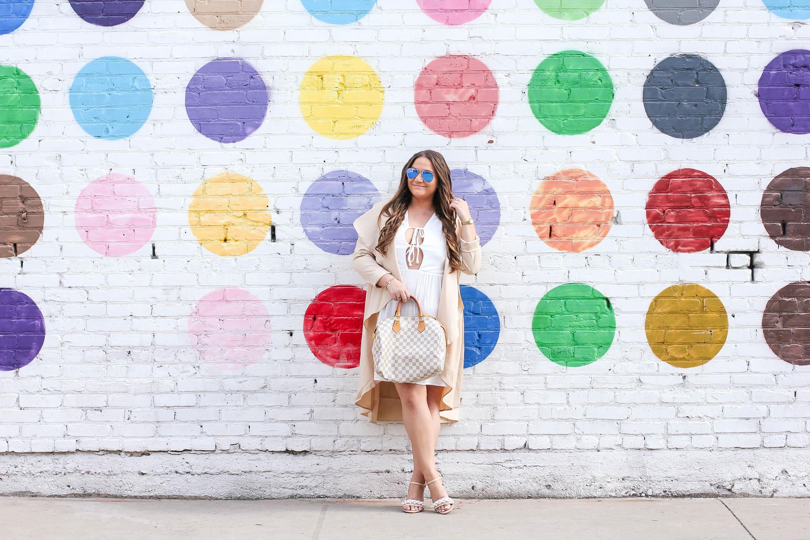 missyonmadison, missyonmadison instagram, melissa tierney, la blogger, fashion blogger, wall charades, studio diy wall crawl, polka dot wall, dtla polka dot wall, the springs la, ami clubwear, ankle strap heels, nude ankle strap sandals, louis vuitton speedy bag, raybans, white dress, white plunge dress, tan trench coat, trench coat, pearl heels, bloglovin, style blogger, street style,