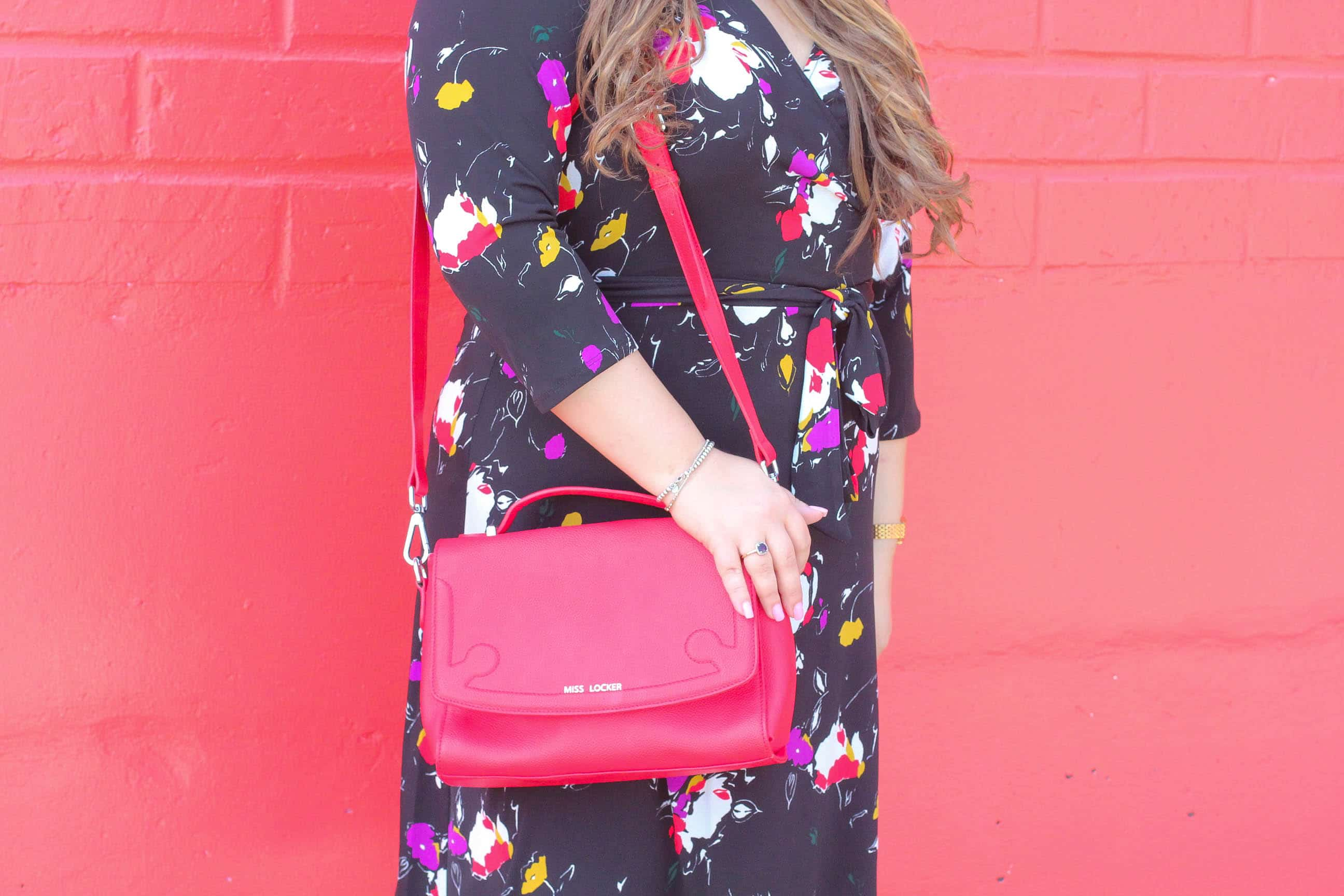 missyonmadison, missyonmadison instagram, fashion blogger, la blogger, style blogger, miss locker bags, red bag, pop of color, wall crawl, leota new york, leota new york wrap dress, fall style, nordstrom, nordstrom wrap dress, white pumps, white pointed toe pumps, bloglovin, style goals, style diaries, fashion goals, fashion diaries,