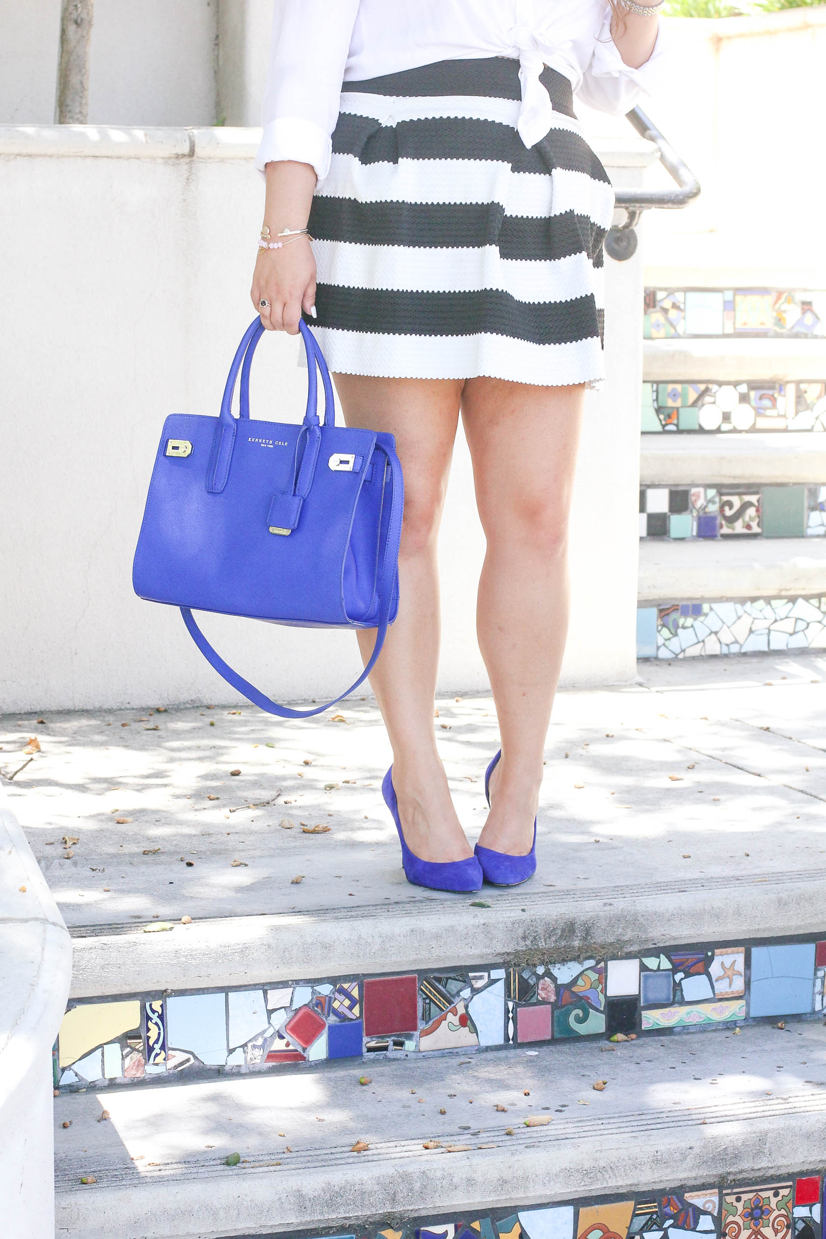 missyonmadison, missyonmadison isntagram, fashion blog, fashion blogger, style blog, style blogger, outfit inspo, outfit goals, bloglovin, style blogger, fashion blogger, fashion blog, style watch, cobalt blue pumps, cobalt blue bag, raybans, striped skater skirt, striped skirt, black and white striped skirt, white button down shirt, monday blues, how to style stripes, how to wear cobalt blue, how to add color to your wardrobe, la blogger,