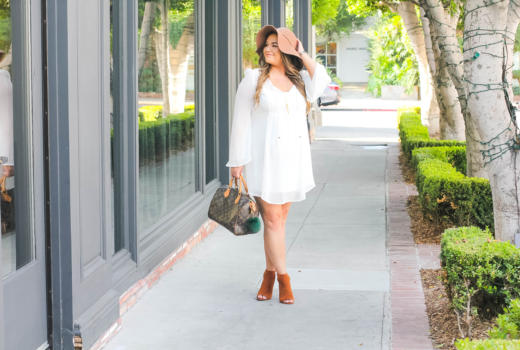 missyonmadison, missyonmadison blog, missyonmadison instagram, fashion blog, fashion blogger, style blog, style blogger, peep toe booties, tan booties, tan peep toe booties, tan floppy hat, tan hat, fall style, fall 2017 style, white chiffon dress, white long sleeve dress, how to wear white, how to style white, white after labor day, style tips, fall style tips, how to style a floppy hat,