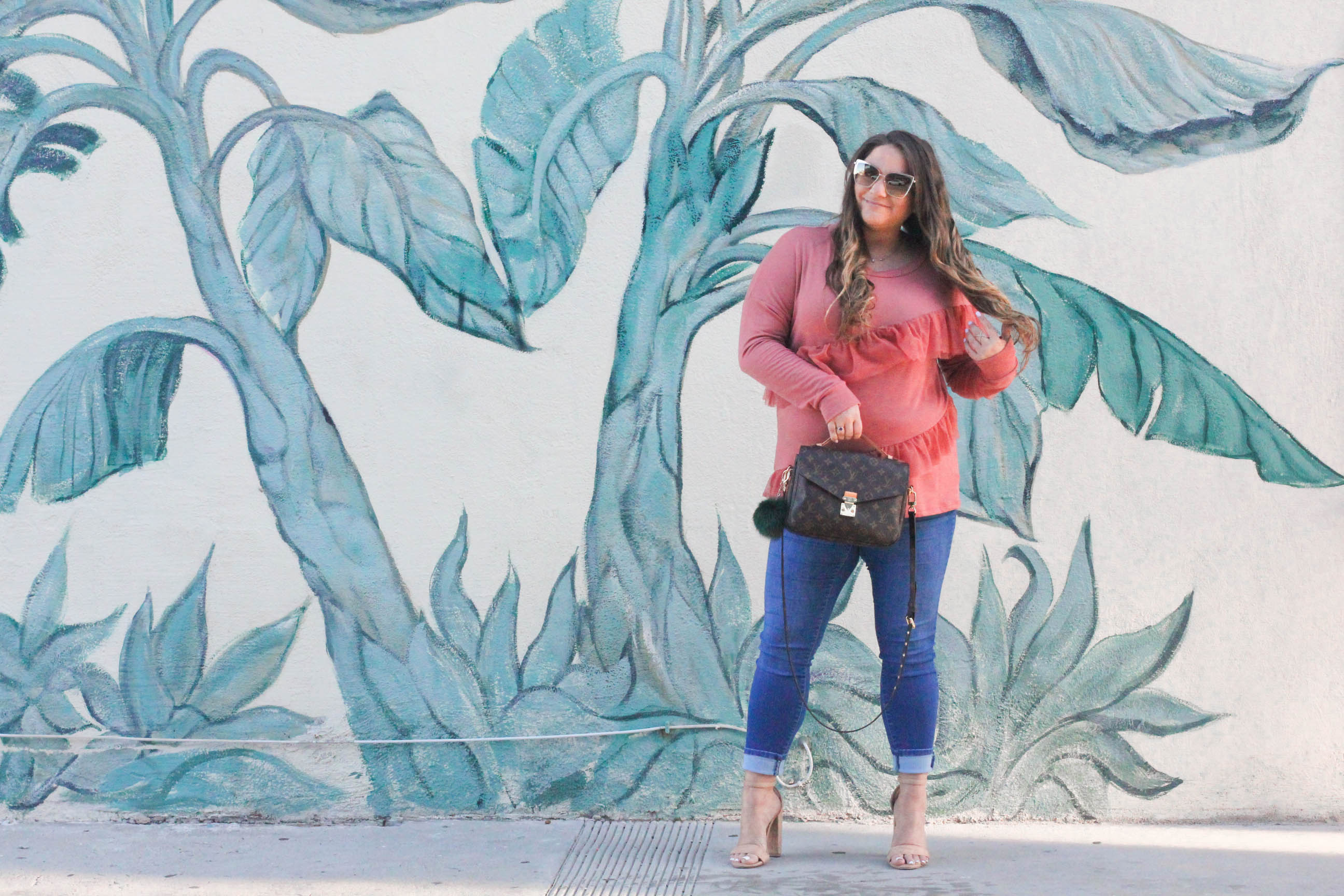 missyonmadison, missyonmadison blog, missyonmadison instagram, fashion blog, fashion blogger, style blog, style blogger, thanksgiving, what to wear to thanksgiving, thanksgiving 2017, black friday, cozy fall tops, what to wear this fall, fall style, fall 2017 style, bloglovin, nude ankle strap heels, medium wash jeans, skinny jeans, faux fur vest, diff eyewear, diff eyewear sunglasses, orange top, orange sweater, palm print wall, palm print mural, la wall crawl,