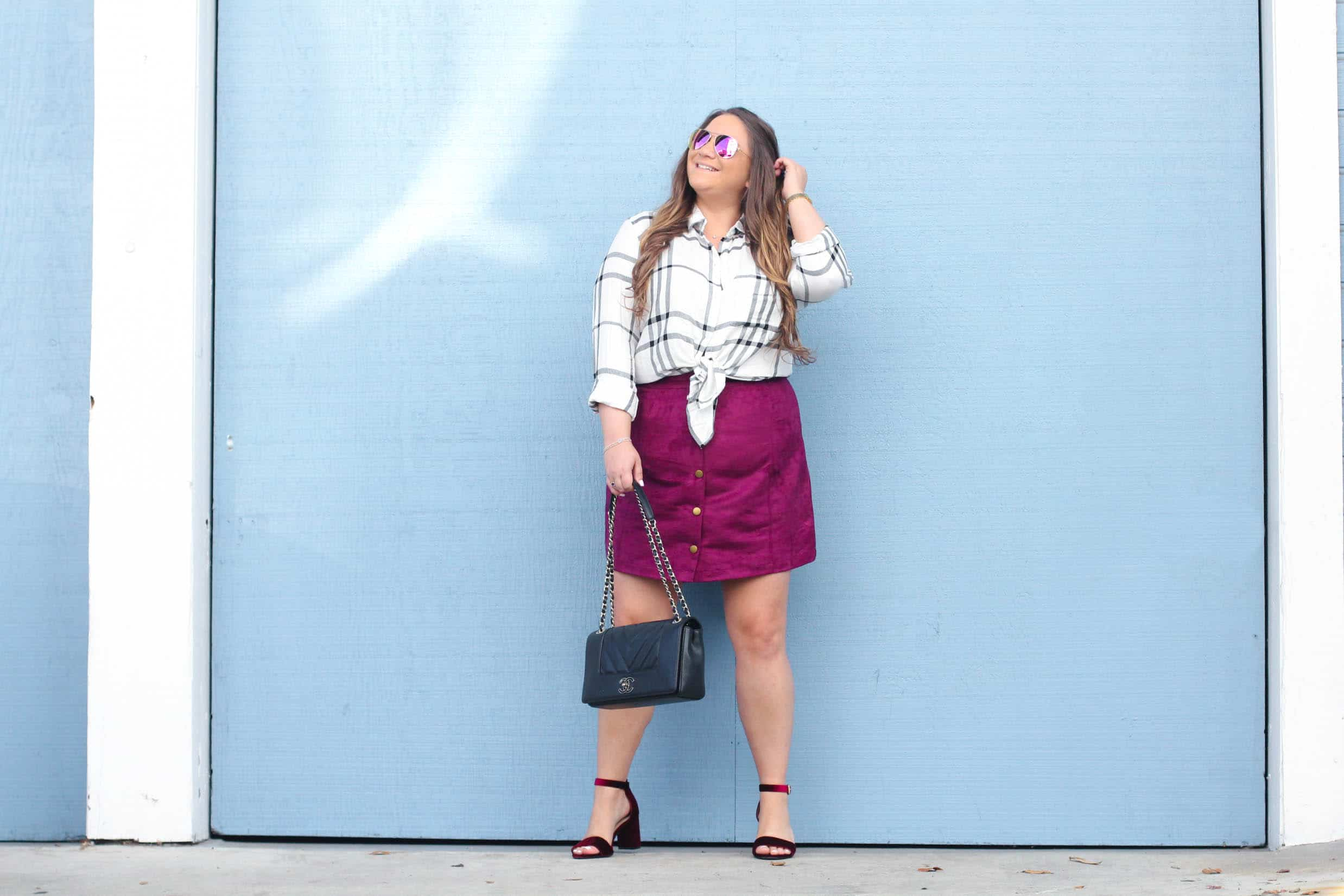 missyonmadison, missyonmadison instagram, fashion blog, fashion blogger, style blog, style blogger, fall fashion, fall 2017 style, fall trends, plaid, old navy style, old navy, holiday style, holiday style 2017, button up skirt, velvet shoes, velvet sandals, velvet ankle strap sandals, ankle strap sandals, chanel flap bag, chanel bag, diff eyewear, mirrored aviators, pink sunglasses, pink aviators, plaid button down shirt,