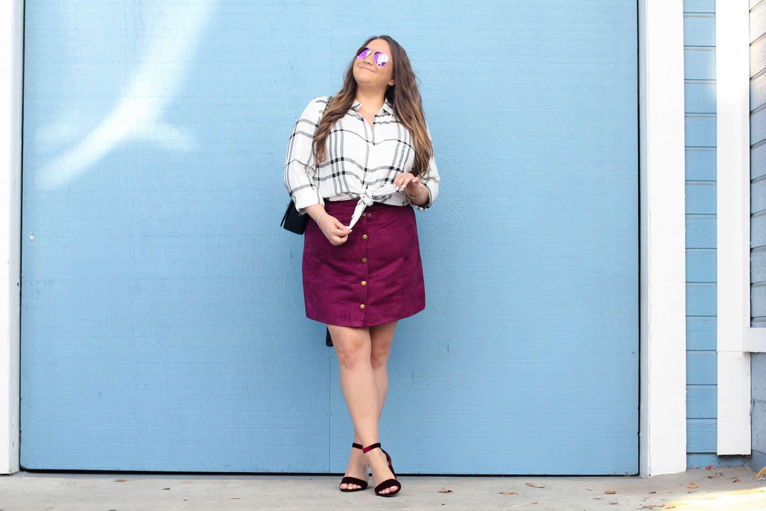 missyonmadison, missyonmadison instagram, fashion blog, fashion blogger, style blog, style blogger, fall fashion, fall 2017 style, fall trends, plaid, old navy style, old navy, holiday style, holiday style 2017, button up skirt, velvet shoes, velvet sandals, velvet ankle strap sandals, ankle strap sandals, chanel flap bag, chanel bag, diff eyewear, mirrored aviators, pink sunglasses, pink aviators, plaid button down shirt,