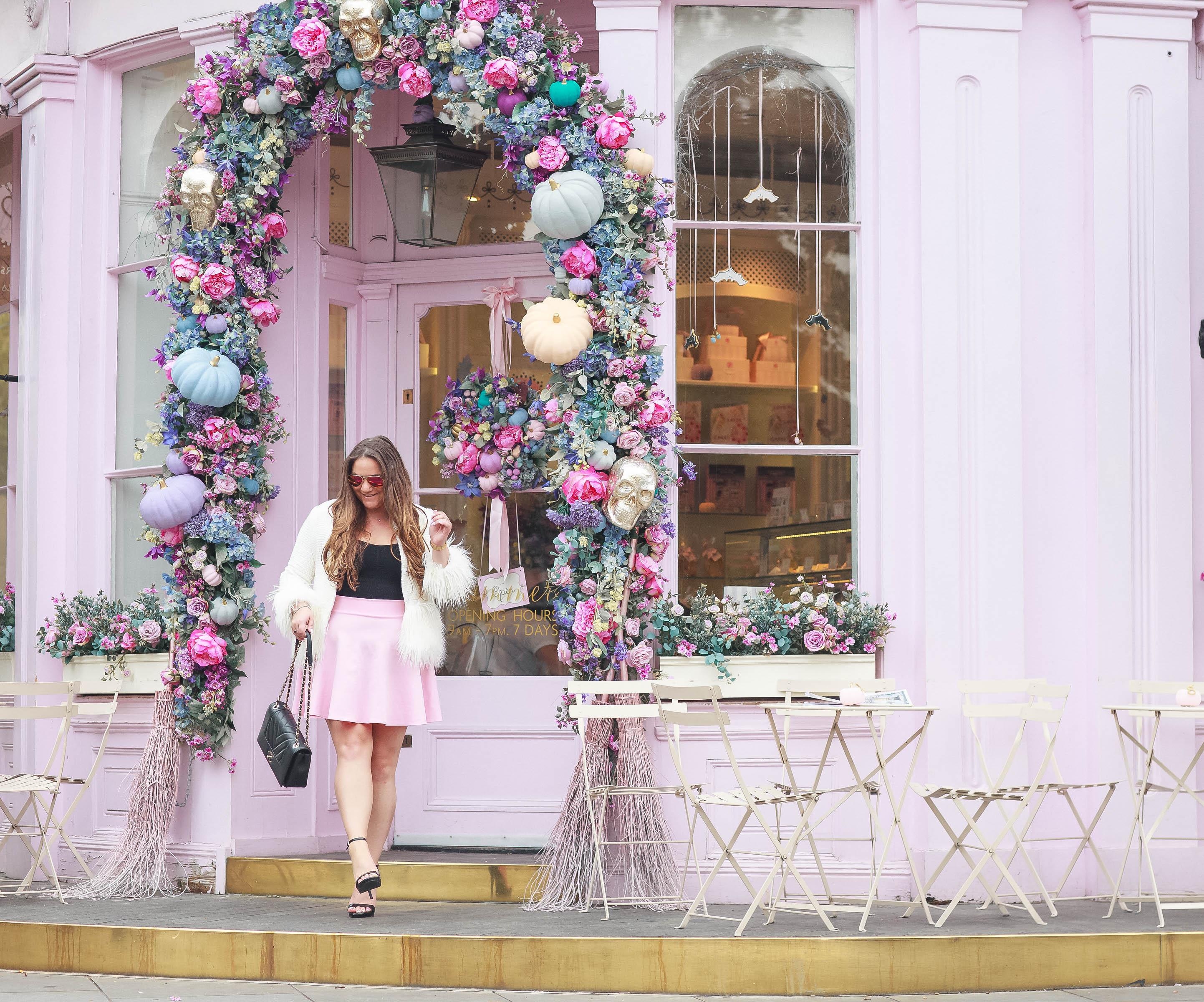 missyonmadison, missyonmadison blog, missyonmadison instagram, fashion blog, fashion blogger, style blog, style blogger, ootd, peggy porschen, london visit, london sightseeing, london cafe, peggy porschen london, peggy porschen cakes, places to visit in london, instagram places london, pink skater skirt, pink scuba skirt, black body suit, pink raybans, black ankle strap heels, steve madden black ankle strap heels, chanel bag, chanel flap bag, shein, shein tweed coat, white faux fur coat, white tweed coat with faux fur trim, visit london, la blogger, winter style, fall style,