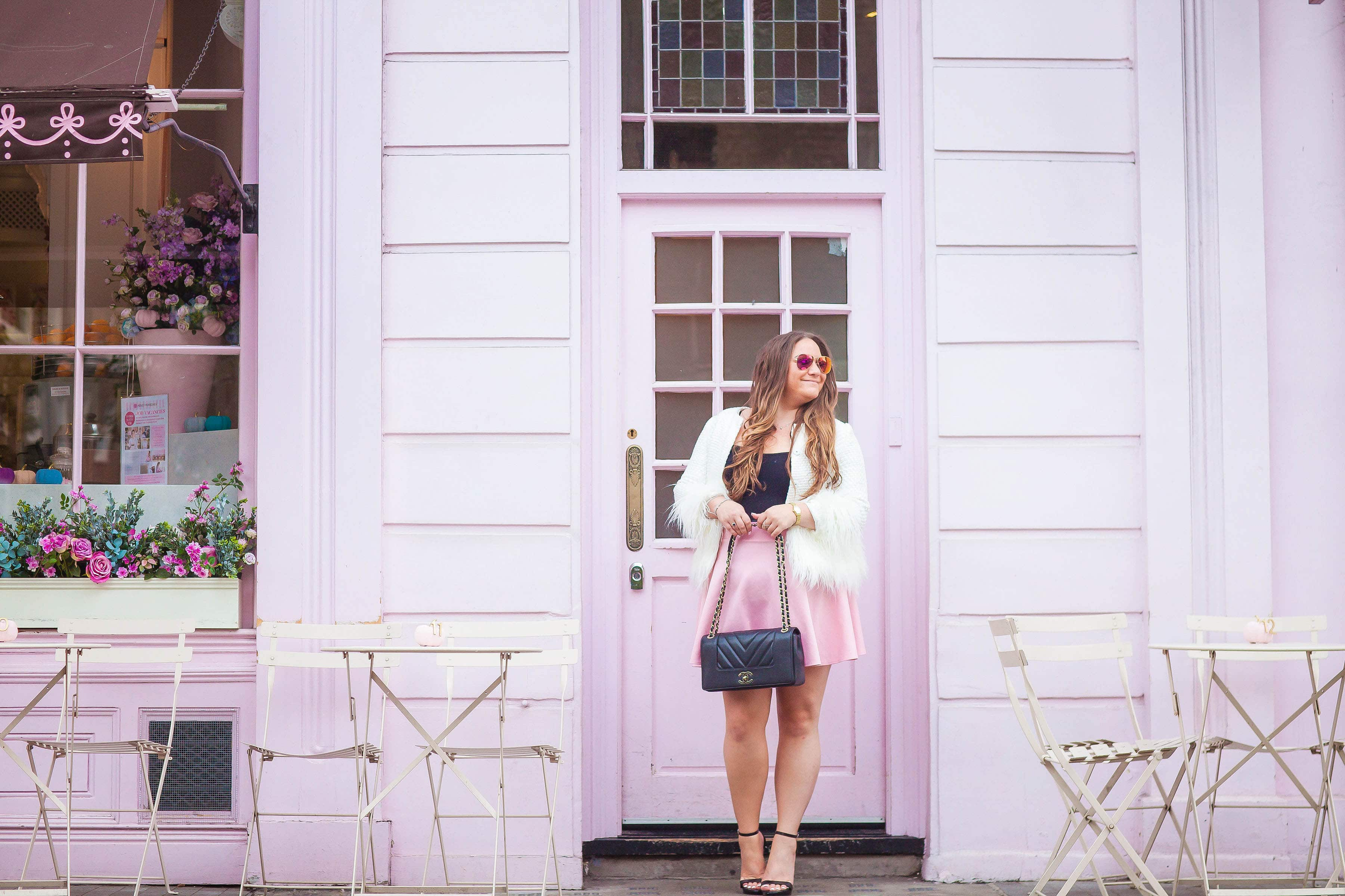 missyonmadison, missyonmadison blog, missyonmadison instagram, fashion blog, fashion blogger, style blog, style blogger, ootd, peggy porschen, london visit, london sightseeing, london cafe, peggy porschen london, peggy porschen cakes, places to visit in london, instagram places london, pink skater skirt, pink scuba skirt, black body suit, pink raybans, black ankle strap heels, steve madden black ankle strap heels, chanel bag, chanel flap bag, shein, shein tweed coat, white faux fur coat, white tweed coat with faux fur trim, visit london, la blogger, winter style, fall style,