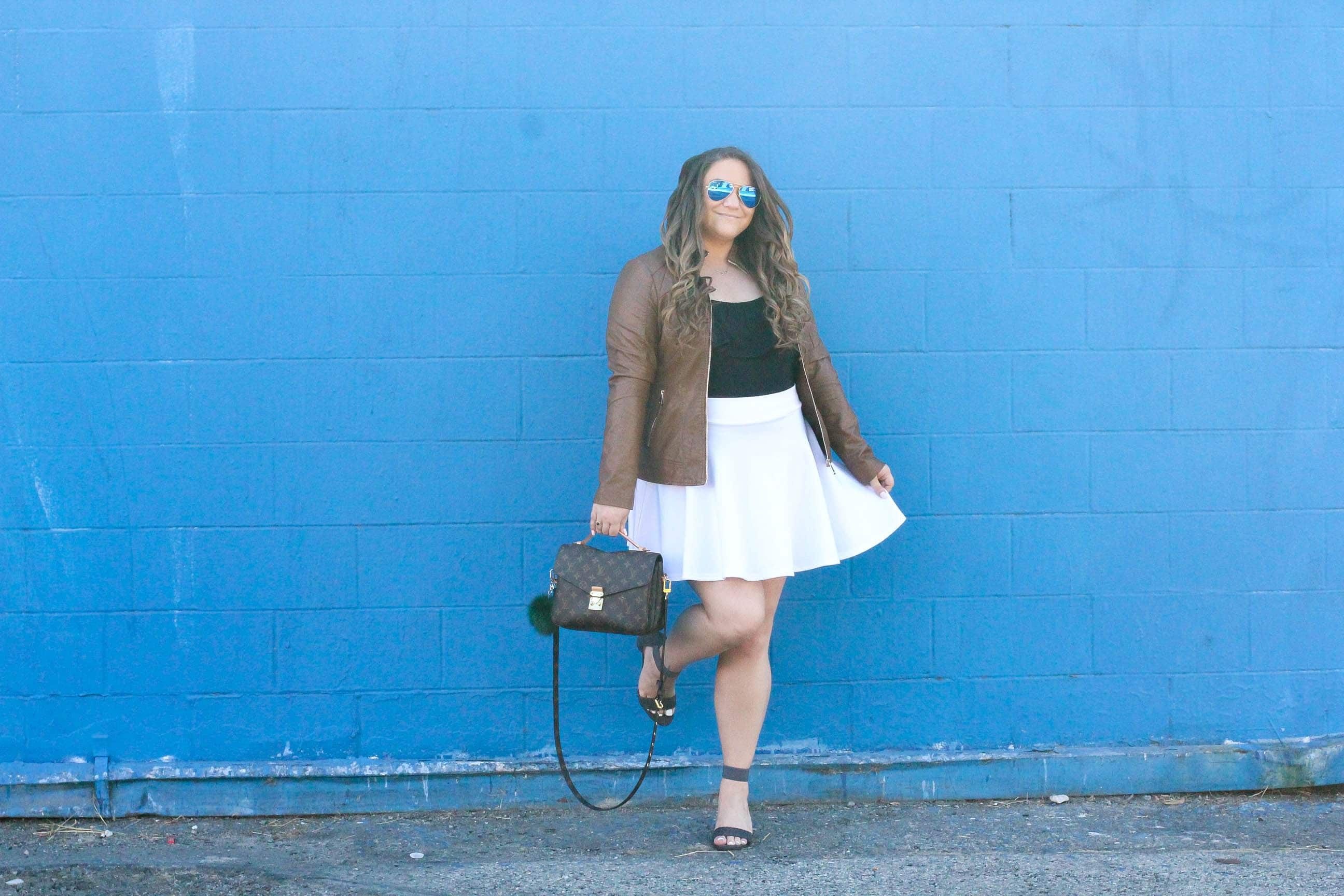 missyonmadison, missyonmadison instagram, missyonmadison blog, blogger, la blogger, vegan moto jacket, vegan leather, vegan leather jacket, coalition la, fashion blog, fashion blogger, style blog, style blogger, outfit inspo, fall style, fall 2017 style, winter 2017 style, skater skirt, bodysuit, white mountain shoes, white mountain sandals, style blog, what to wear for fall, how to style vegan leather, tan moto jacket, tan vegan leather moto jacket,